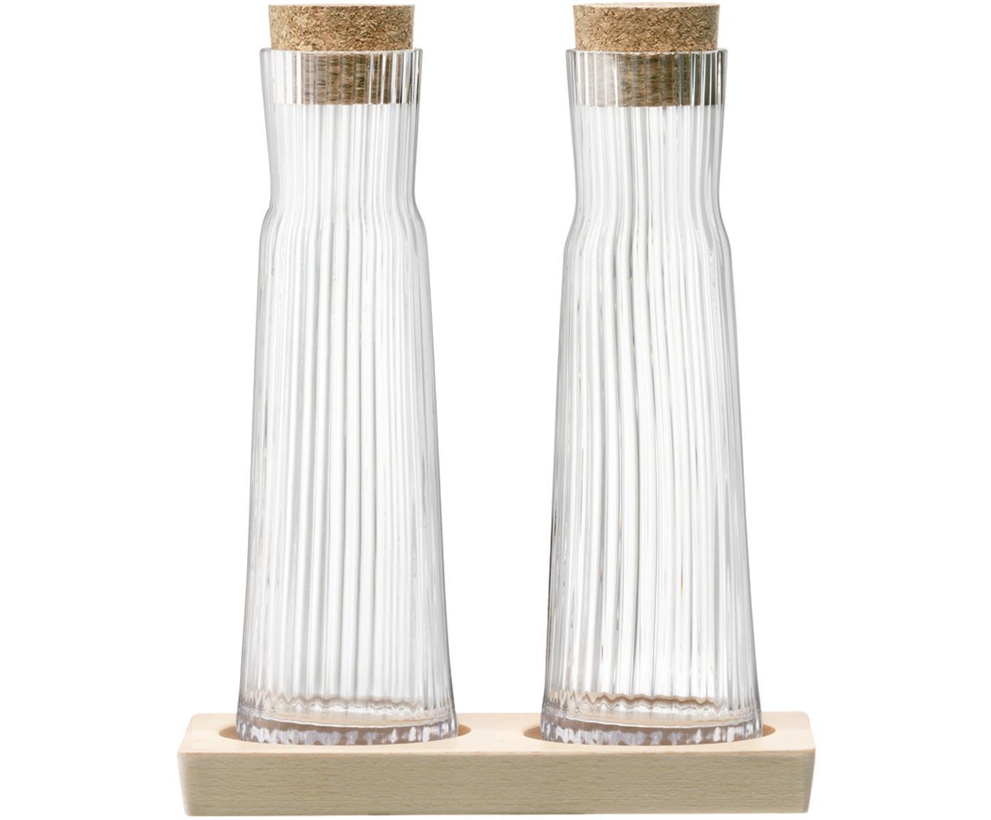 Azijn- en oliedispenserset Gio Line met groefreliëf, 3-delig, Sluiting: kurk, Dienblad: beukenhout, Transparant, kurkkleurig, 16 x 20 cm