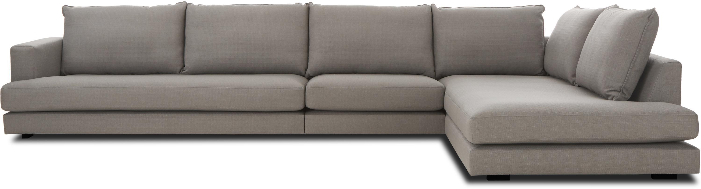 XL-hoekbank Tribeca, Bekleding: polyester, Zitvlak: schuimstof, vezelmateriaa, Frame: massief grenenhout, Poten: gelakt massief grenenhout, Donkergrijs, B 405 x D 228 cm