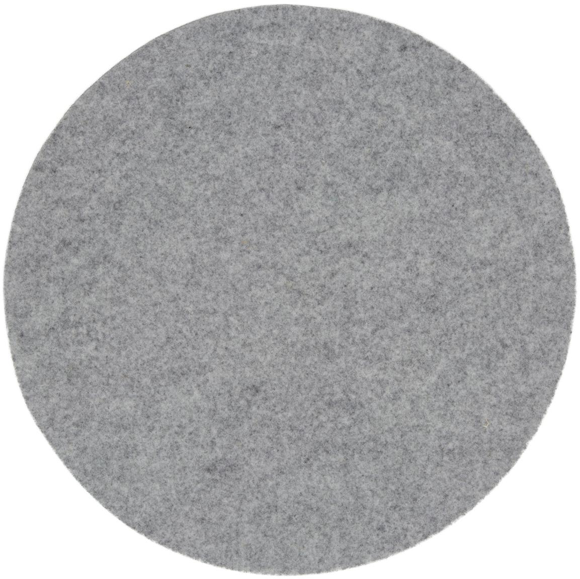 Manteles individuales redondos de fieltro Leandra, 4uds., 90%lana, 10%polietileno, Gris claro, Ø 40 cm