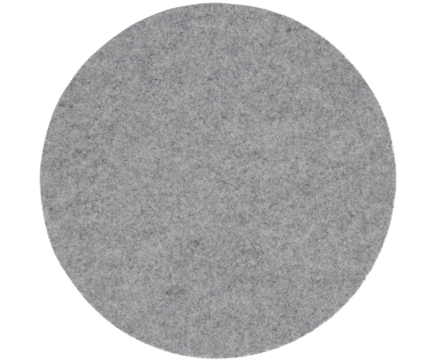 Runde Wollfilz-Tischsets Leandra, 4 Stück, 90% Wolle, 10% Polyethylen, Hellgrau, Ø 40 cm