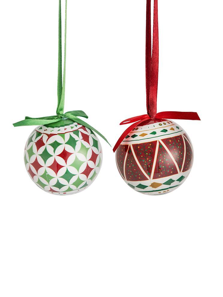 Bolas de Navidad Windy, 14uds., Bola de espuma de polietileno forrada de papel plastificado Caja de cartón, Multicolor, Ø 8 x Al 15 cm