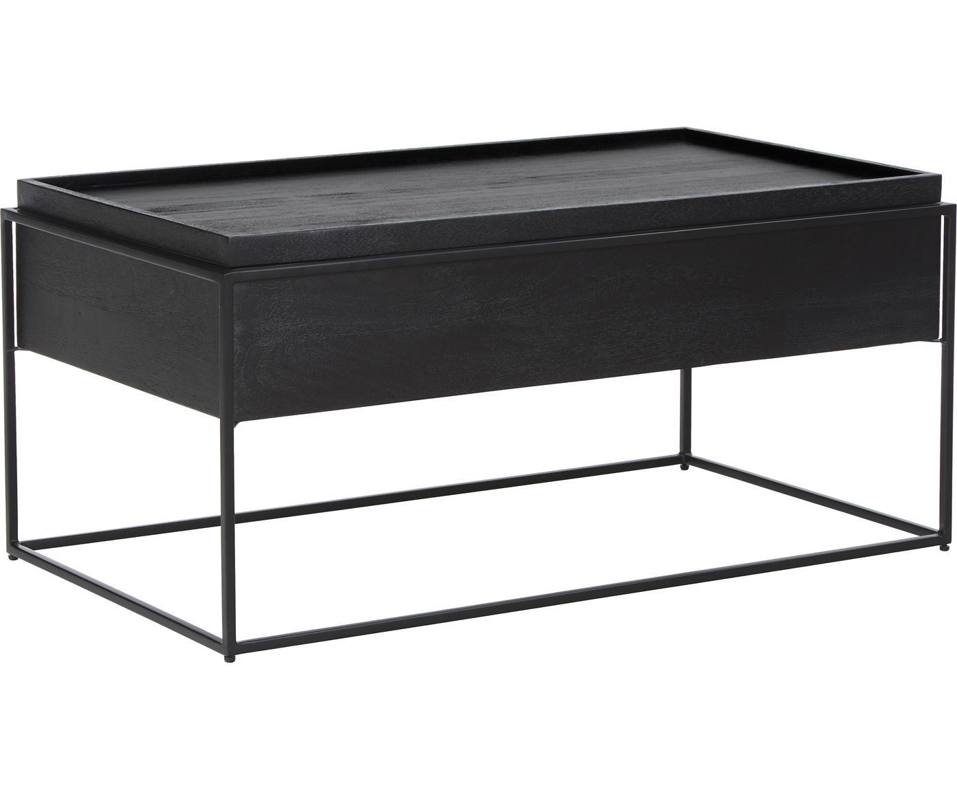 Mesa de centro Theo, con espacio de almacenamiento, Estructura: madera de mango maciza pi, Estructura: metal con pintura en polv, Negro, An 100 x Al 45 cm