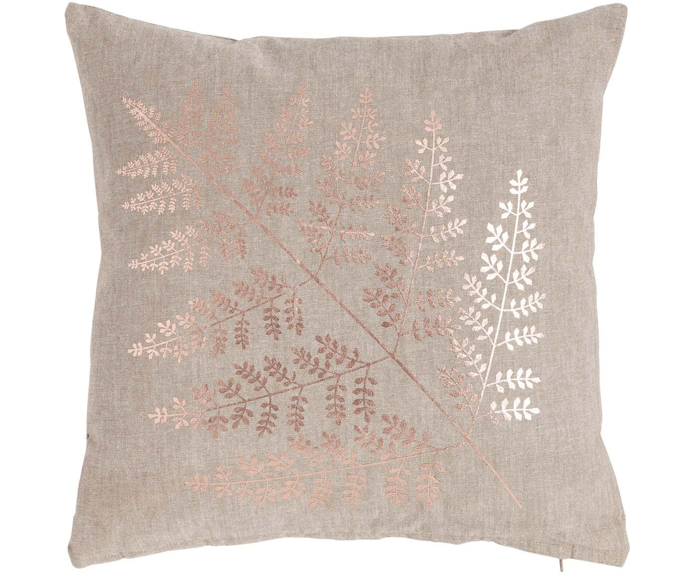 Kissen Big Fern mit glänzendem Print, mit Inlett, Bezug: 100% Baumwolle, Sandfarben, Kupferfarben, 45 x 45 cm