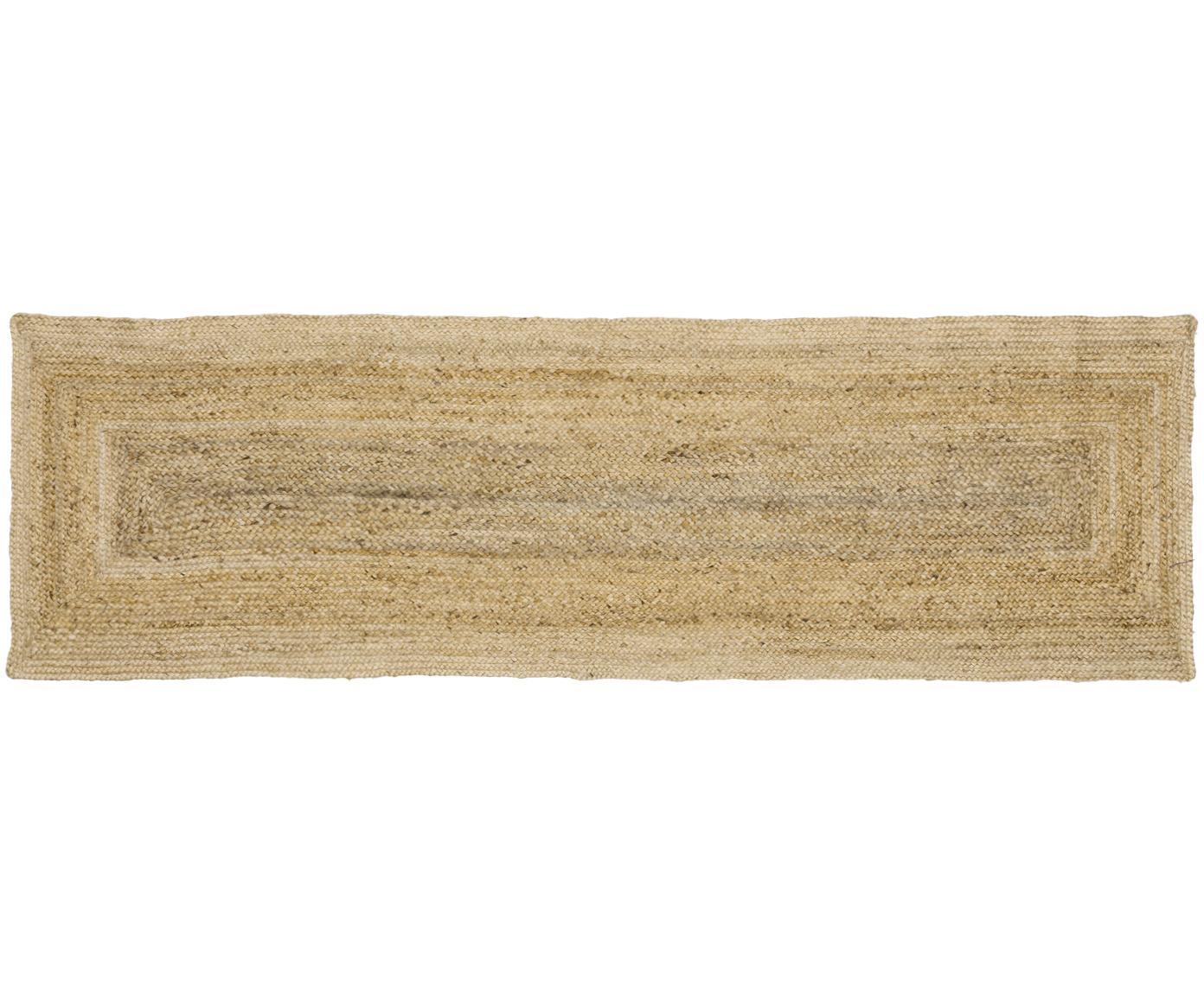 Alfombra artesanal de yute Sharmila, Beige, An 80 x L 250 cm