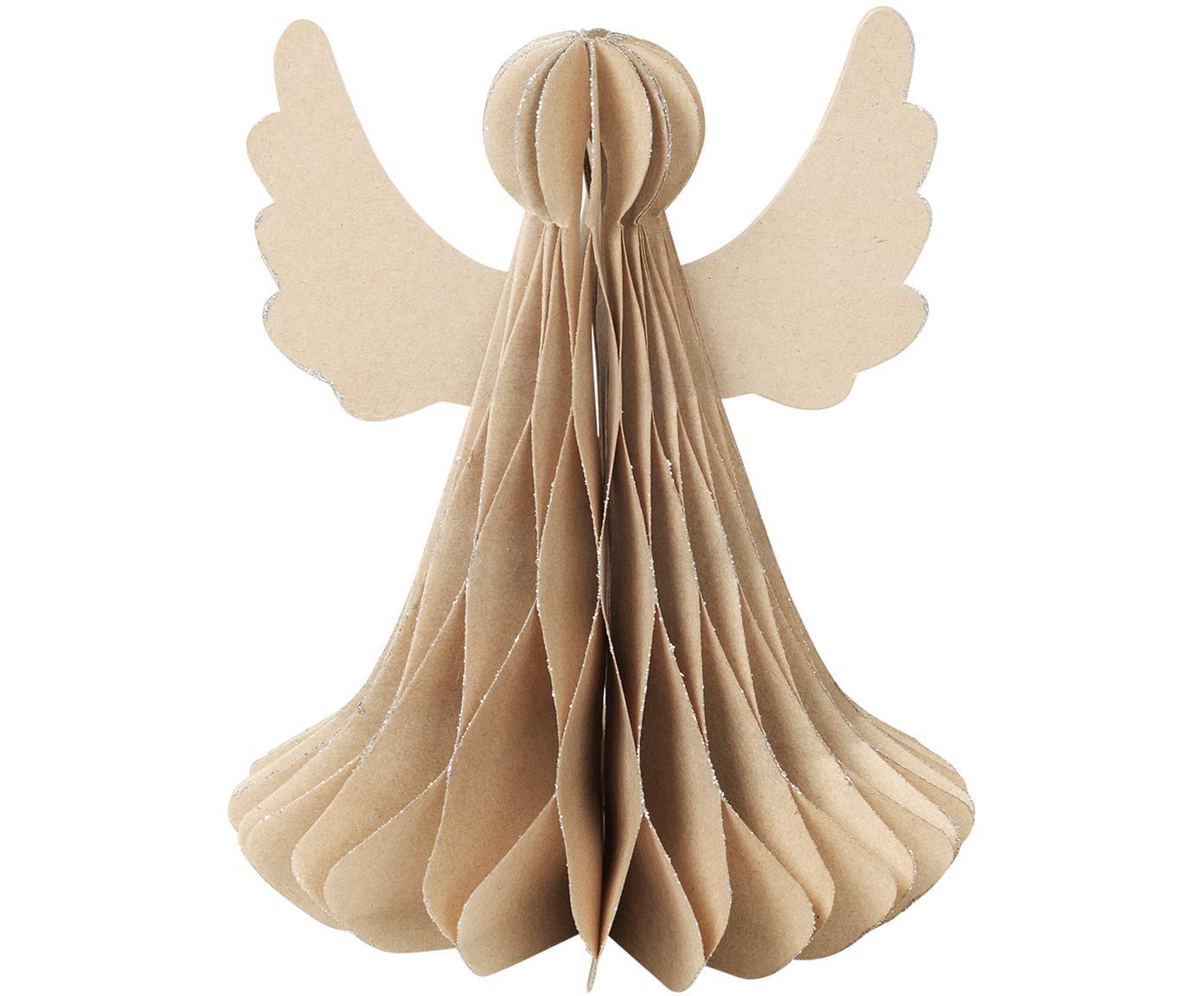 Piezas decorativas Angel, 2uds., Papel, Beige, Ø 10 x Al 13 cm
