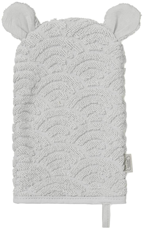 Waschlappen Wave aus Bio-Baumwolle, Bio-Baumwolle, GOTS-zertifiziert, Grau, 15 x 22 cm