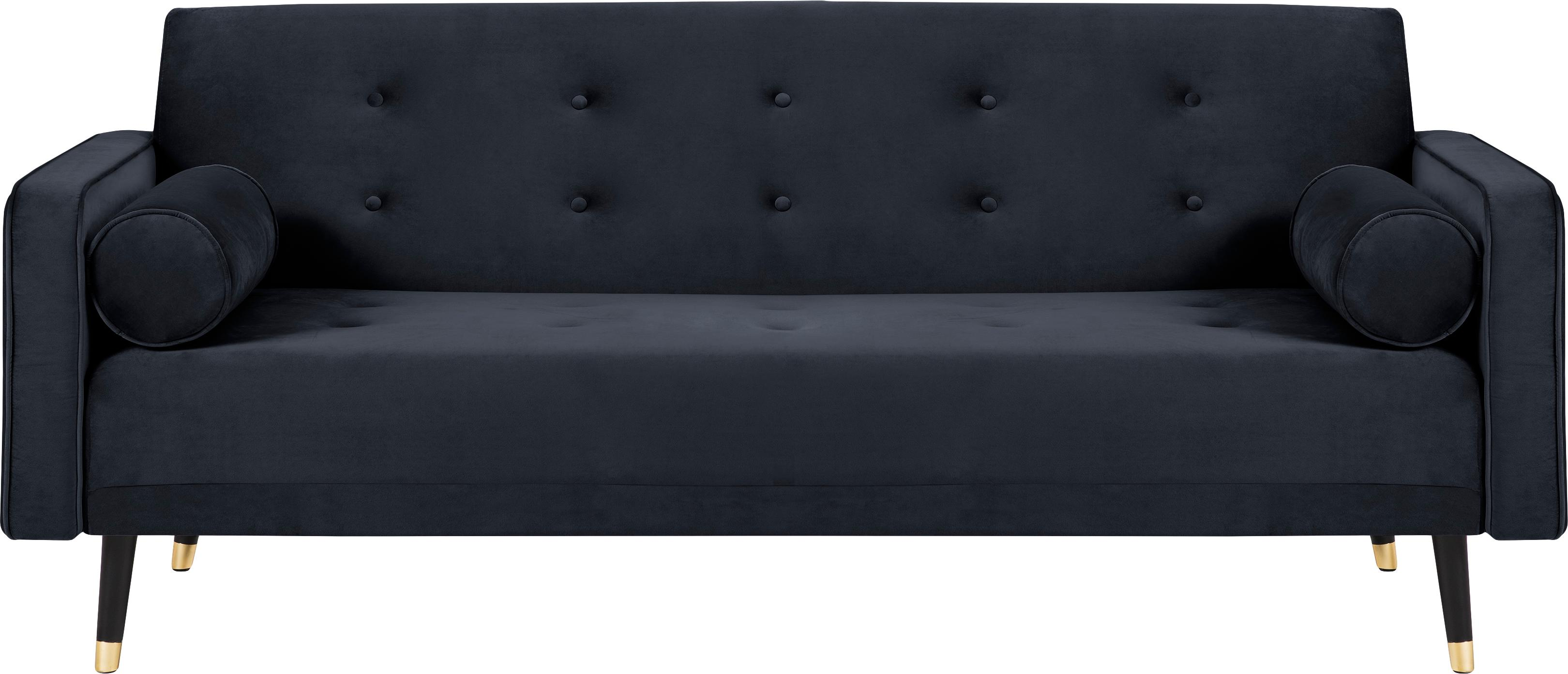 Divano letto 3 posti in velluto blu scuro Gia, Rivestimento: velluto di poliestere, Cornice: legno di pino massiccio, Sottostruttura: truciolato, compensato, m, Piedini: legno di faggio, vernicia, Velluto blu, Larg. 212 x Prof. 93 cm
