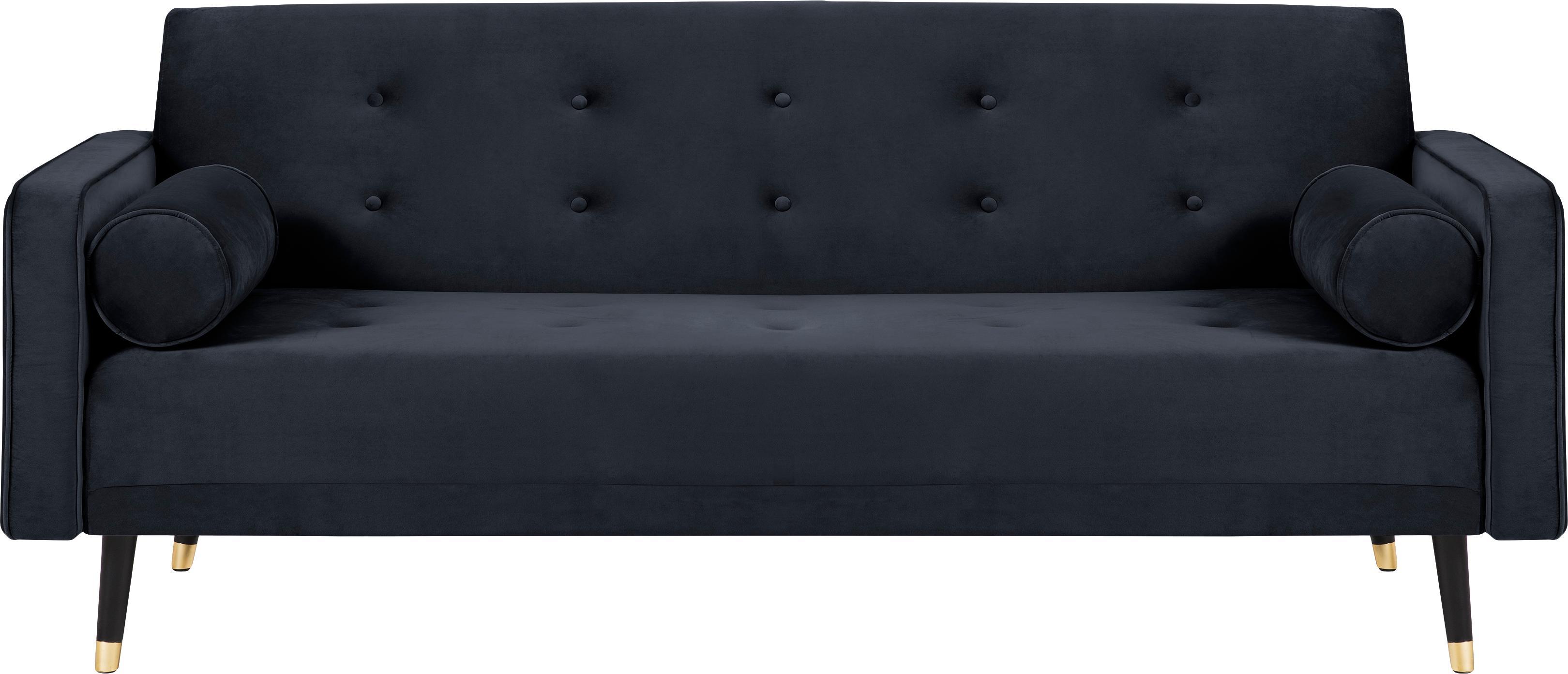 Sofa rozkładana z aksamitu Gia (3-osobowa), Tapicerka: aksamit poliestrowy, Nogi: drewno bukowe, lakierowan, Aksamitny niebieski, S 212 x G 93 cm