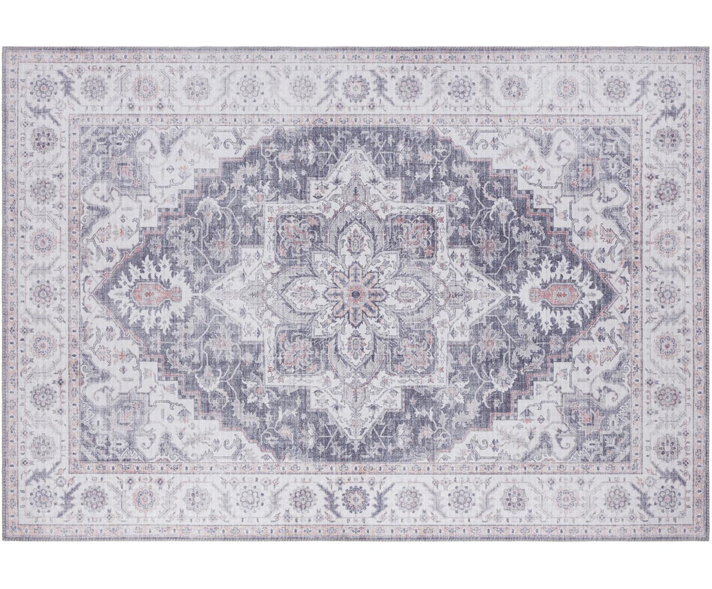 Vloerkleed Anthea in vintage stijl, Polyester, Blauw-grijs, mauve, B 80 x L 150 cm (maat XS)