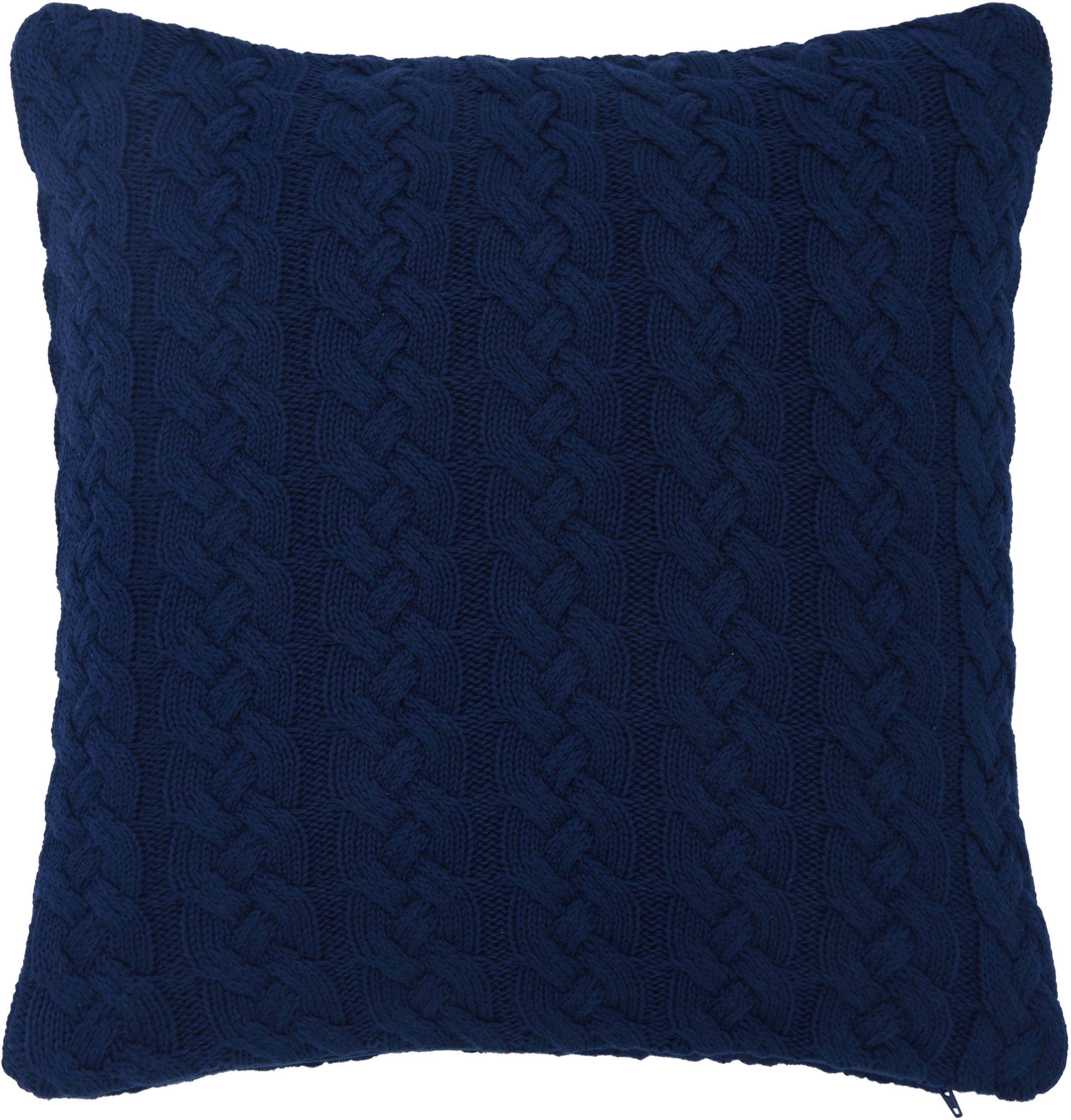 Strick-Kissenhülle Caleb mit Zopfmuster, 100% Baumwolle, Blau, 40 x 40 cm