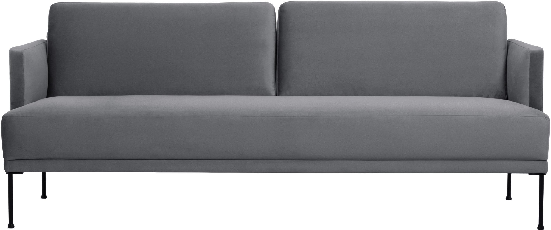 Samt-Sofa Fluente (3-Sitzer), Bezug: Samt (Hochwertiger Polyes, Gestell: Massives Kiefernholz, Samt Braungrau, B 196 x T 85 cm