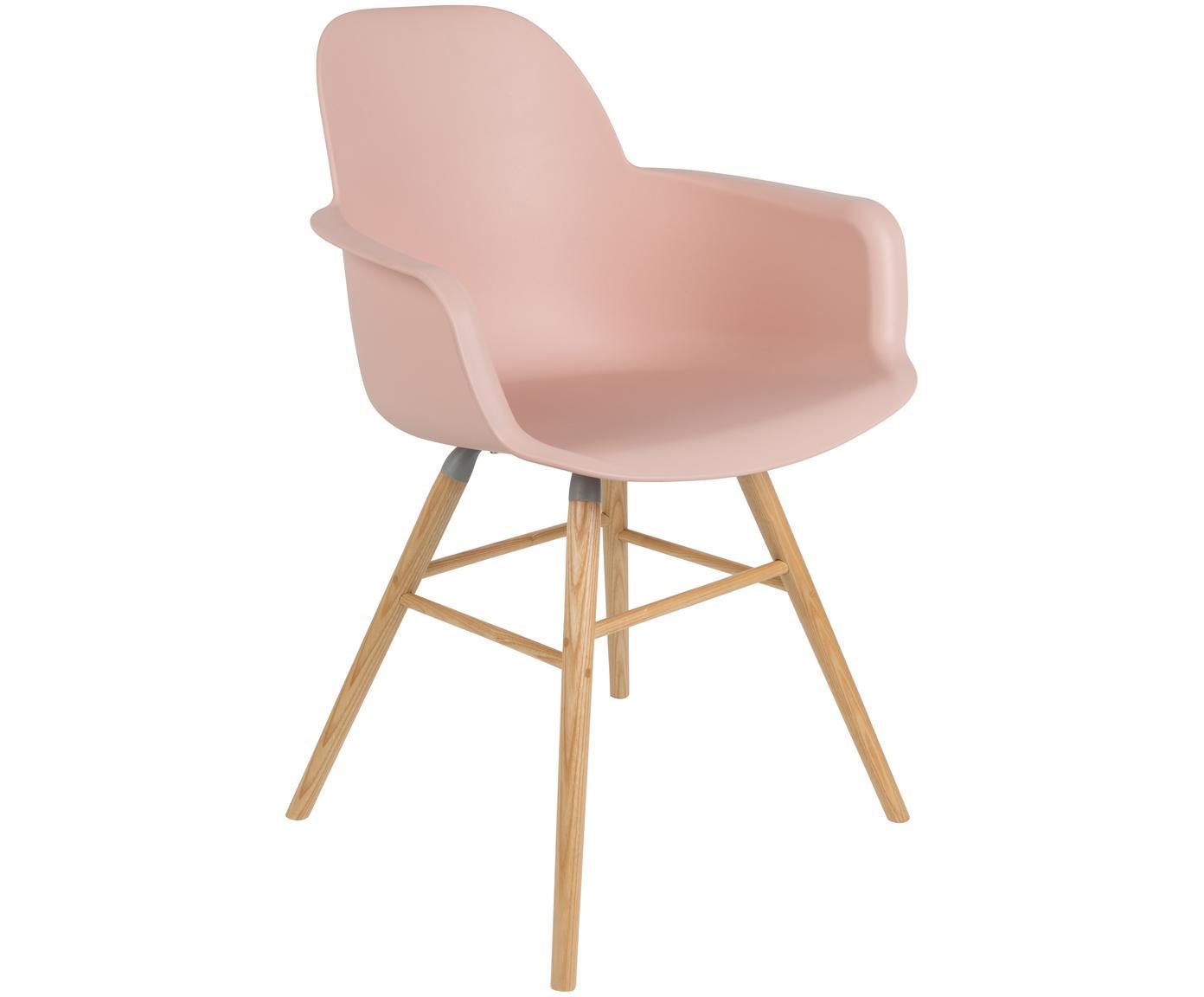 Sedia con braccioli Albert Kuip, Seduta: 100% polipropilene, Piedini: legno di frassino, Rosa, Larg. 59 x Prof. 55 cm