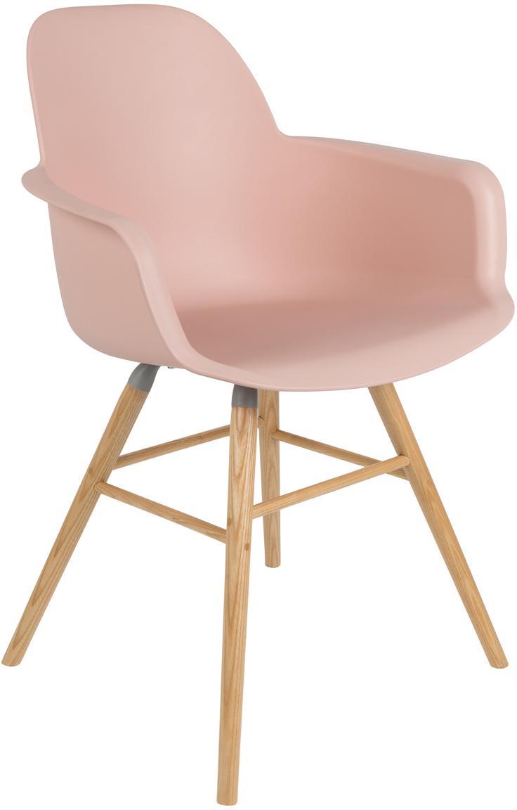 Silla con reposabrazos Albert Kuip, Asiento: 100%polipropileno, Patas: madera de fresno, Asiento: rosa Patas: madera de fresno, An 59 x Al 82 cm