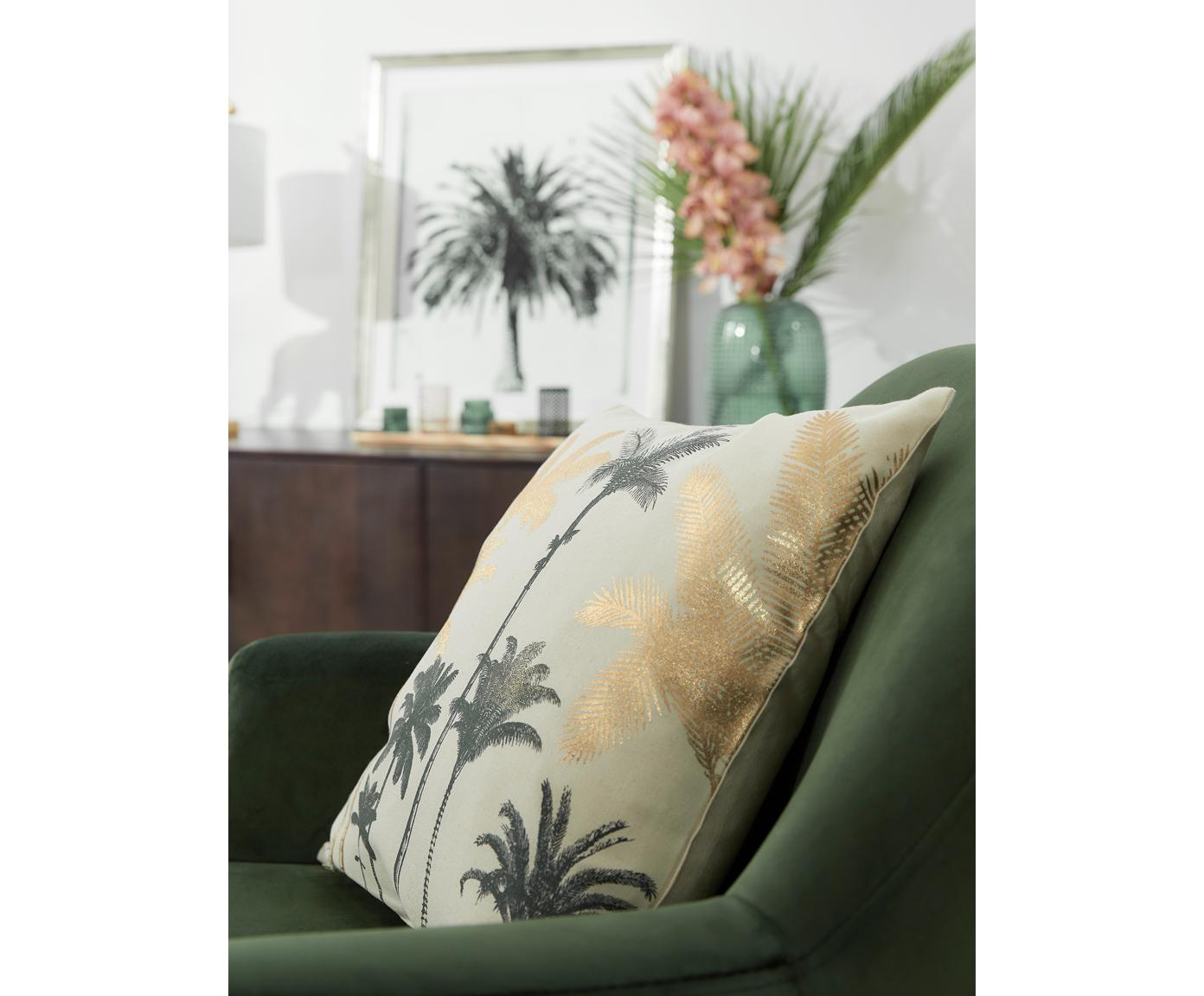 Housse de coussin motif palmier Palmas, Écru, couleur dorée, vert foncé