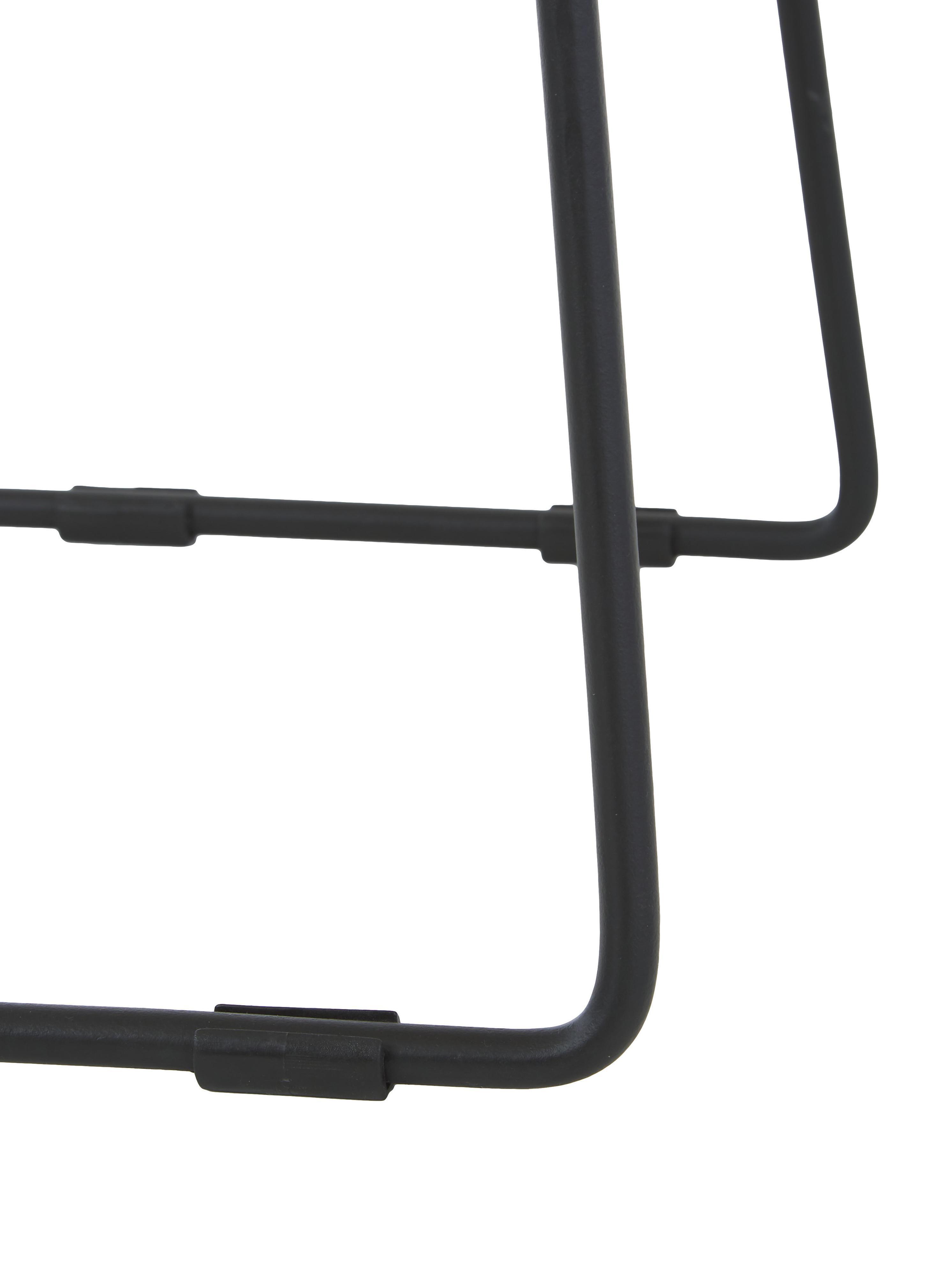 Thekenhocker Tangle aus Teakholz und Metall, Beine: Metall, pulverbeschichtet, Braun, 40 x 65 cm