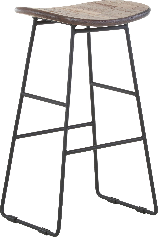 Sedia da bar in teak e metallo Tangle, Seduta: legno di teak, riciclato, Gambe: metallo verniciato a polv, Marrone, Larg. 40 x Alt. 65 cm