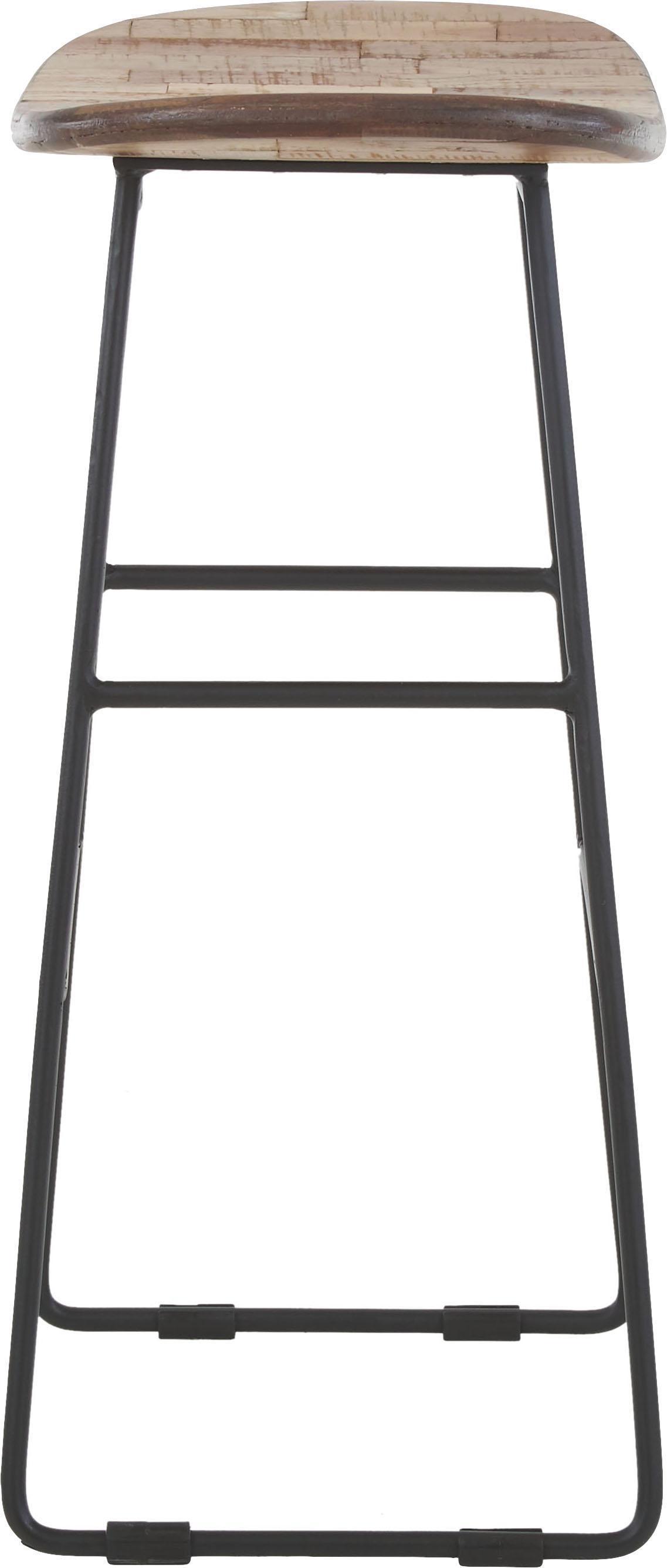 Taburete alto de teca y metal Tangle, Asiento: teca reciclada, Patas: metal, pintura en polvo, Marrón, An 40 x Al 65 cm