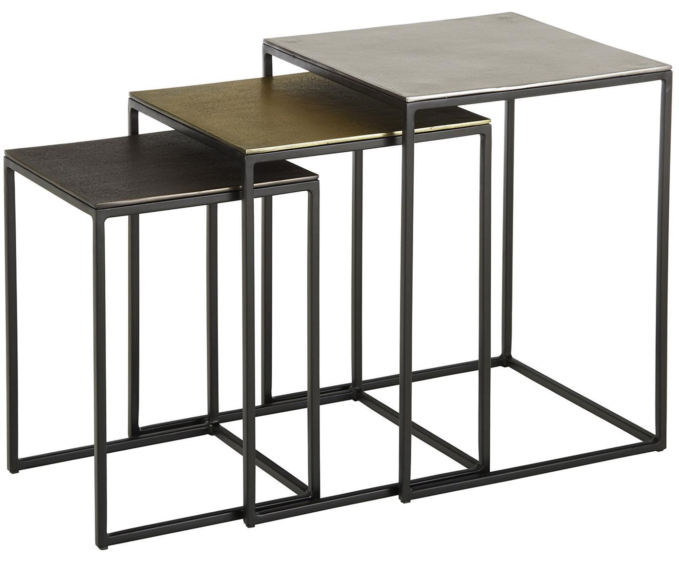 Set 3 tavolini in metallo Dwayne, Ripiani: alluminio rivestito, Struttura: metallo verniciato, Alluminio, ottone, Diverse dimensioni