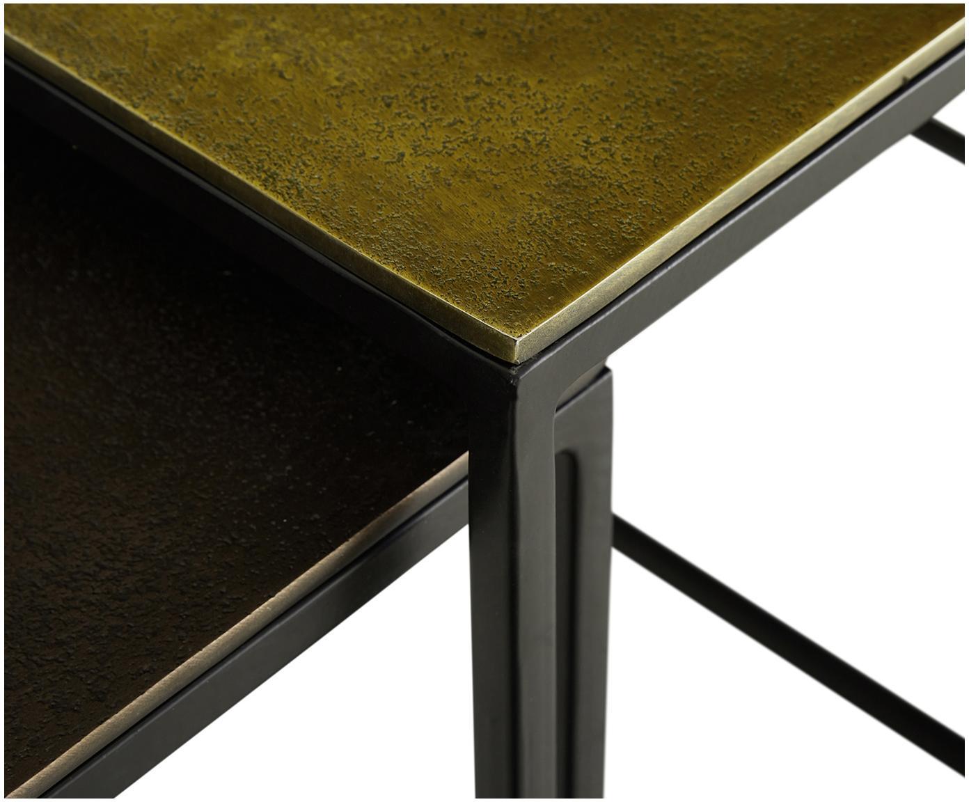 Komplet stolików pomocniczych Dwayne, 3 elem., Blat: aluminium powlekane, Stelaż: metal lakierowany, Aluminium, mosiądz, Różne rozmiary