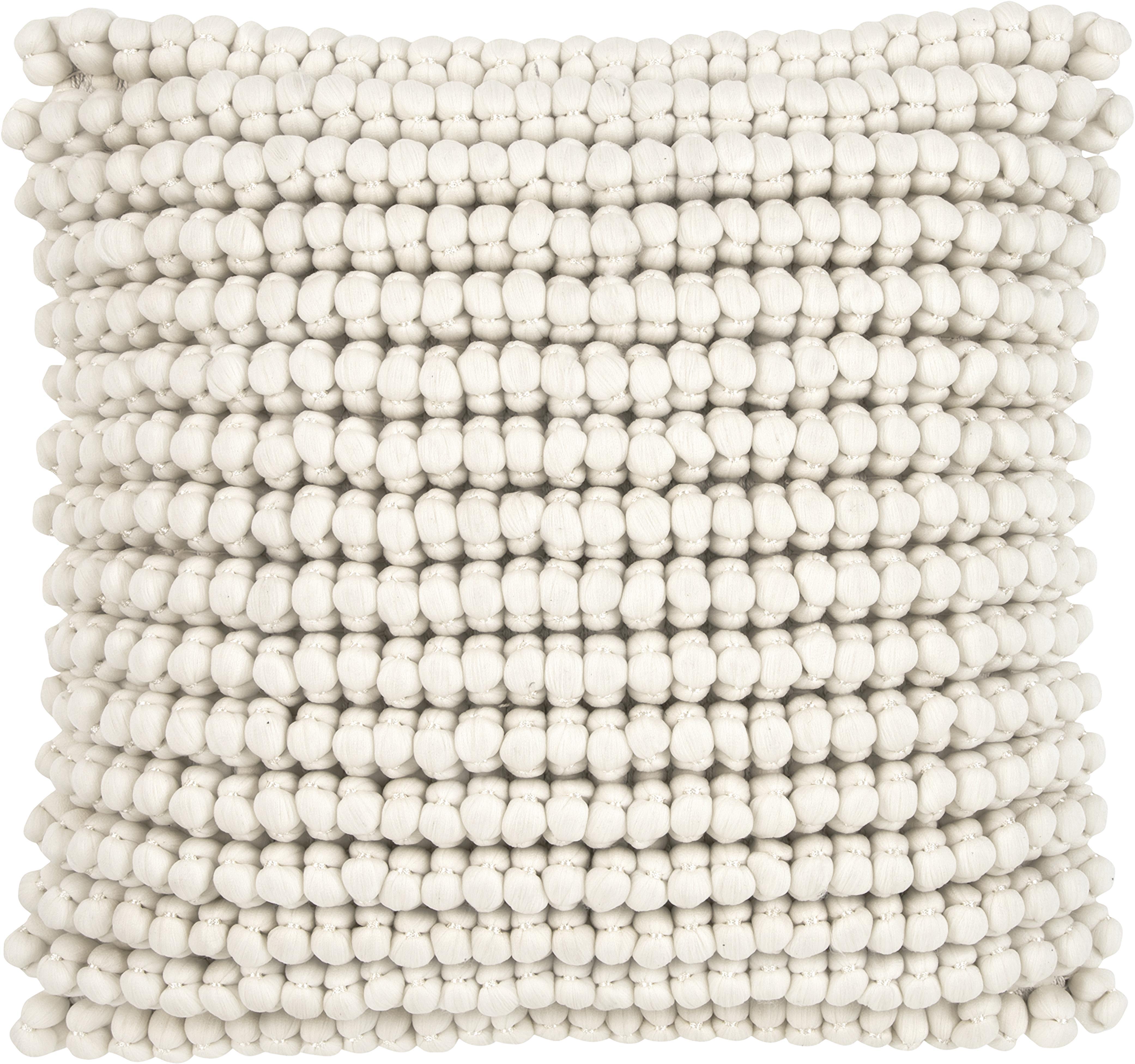 Federa arredo bianco crema Iona, Retro: cotone, Bianco crema, Larg. 45 x Lung. 45 cm