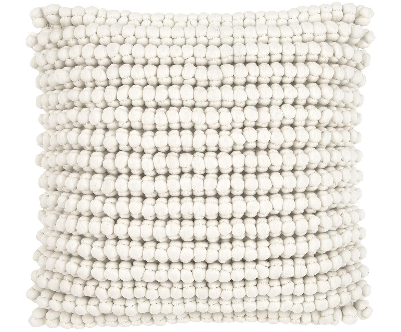 Kissenhülle Iona mit kleinen Stoffkugeln, Vorderseite: 70% Polyester, 30% Baumwo, Rückseite: Baumwolle, Cremeweiß, 45 x 45 cm