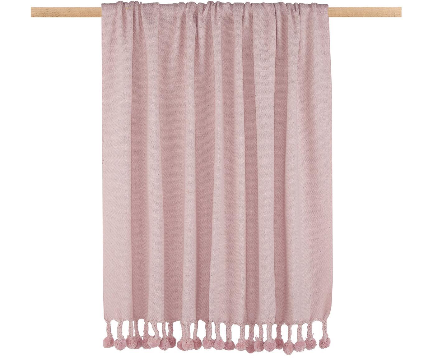 Plaid Sorbet aus recycelter Baumwolle mit Pompoms, Recyceltes Material aus der Modeindustrie in verschiedenen Farben, 100% Baumwolle, Rosa, 130 x 186 cm