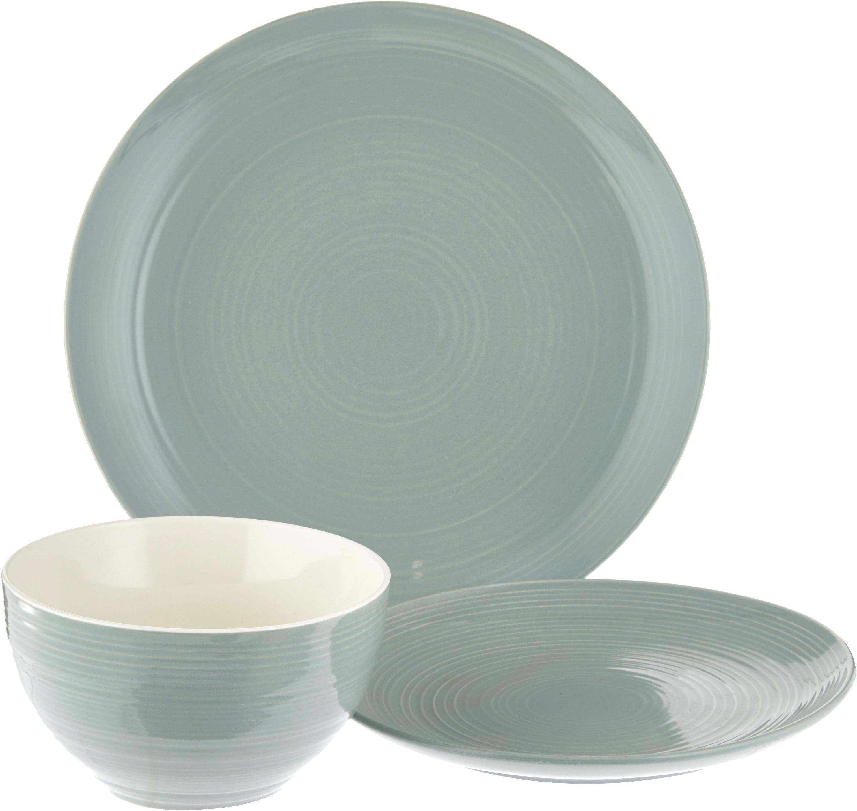 Set 12 piatti con superficie strutturata Darby, New bone china, Verde, bianco incrinato, Diverse dimensioni