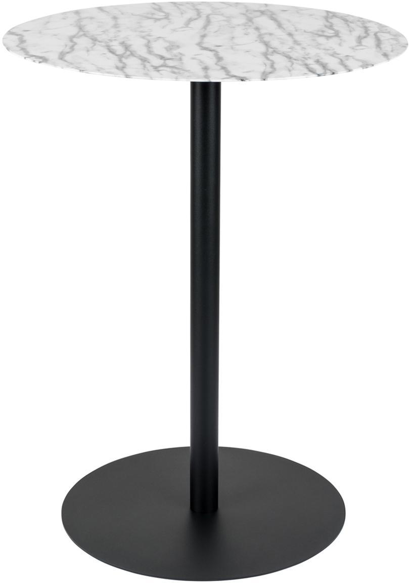 Ronde bistro tafel Snow van metaal, Tafelblad: metaal, in folie, Frame: gepoedercoat metaal, Wit met zwarte vlekken, Ø 57 x H 75 cm