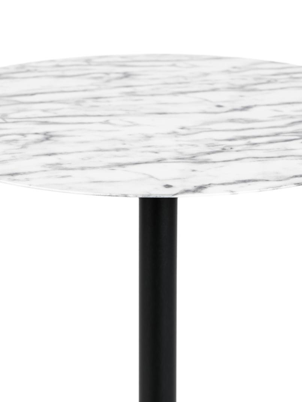 Runder Bistro-Tisch Snow aus Metall, Tischplatte: Metall, foliert, Gestell: Metall, pulverbeschichtet, Schwarz, Weiß, Ø 57 x H 75 cm