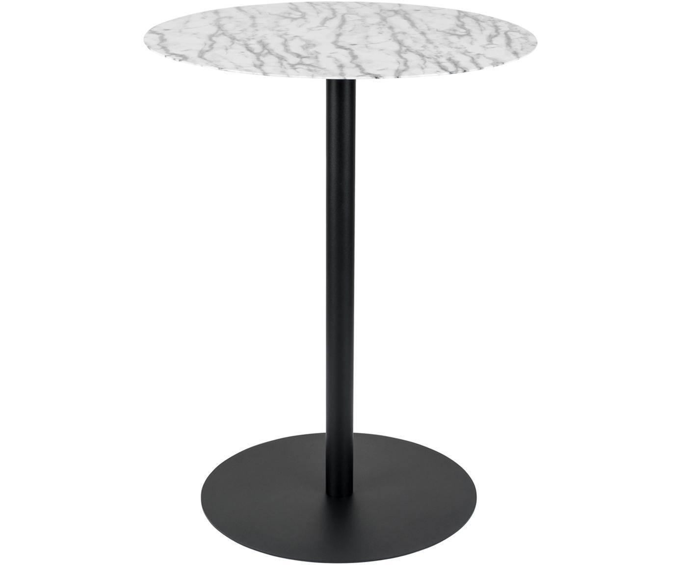 Tavolo da bistrot rotondo in metallo Snow, Piano d'appoggio: metallo rivestito, Struttura: metallo verniciato a polv, Nero, bianco, Ø 57 x Alt. 75 cm