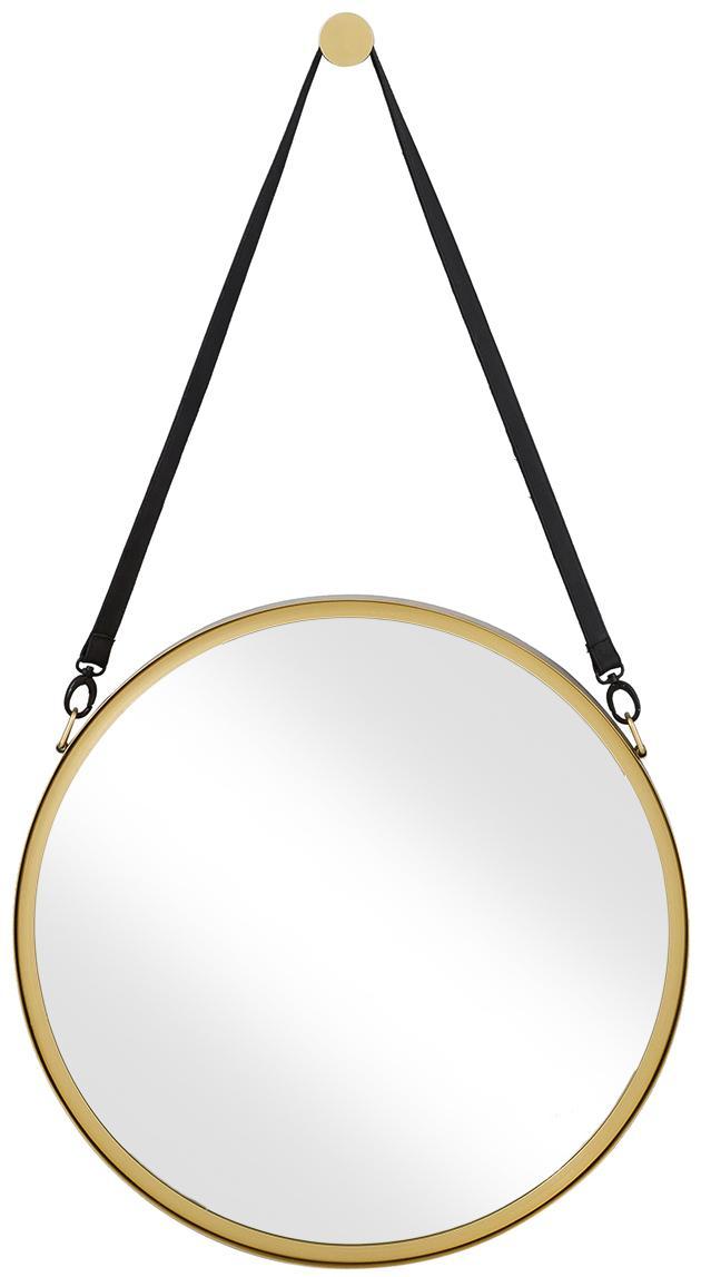 Ronde wandspiegel Liz met zwart leren ophangband, Goudkleurig, Ø 60 cm