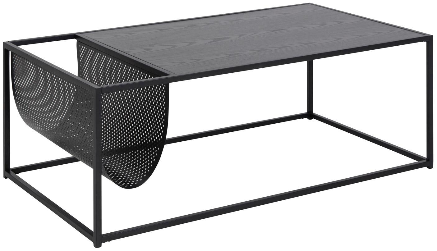 Mesa de centro Seaford, con revistero, Tablero: tablero de fibras de dens, Estructura: metal con pintura en polv, Negro, An 110 x F 60 cm