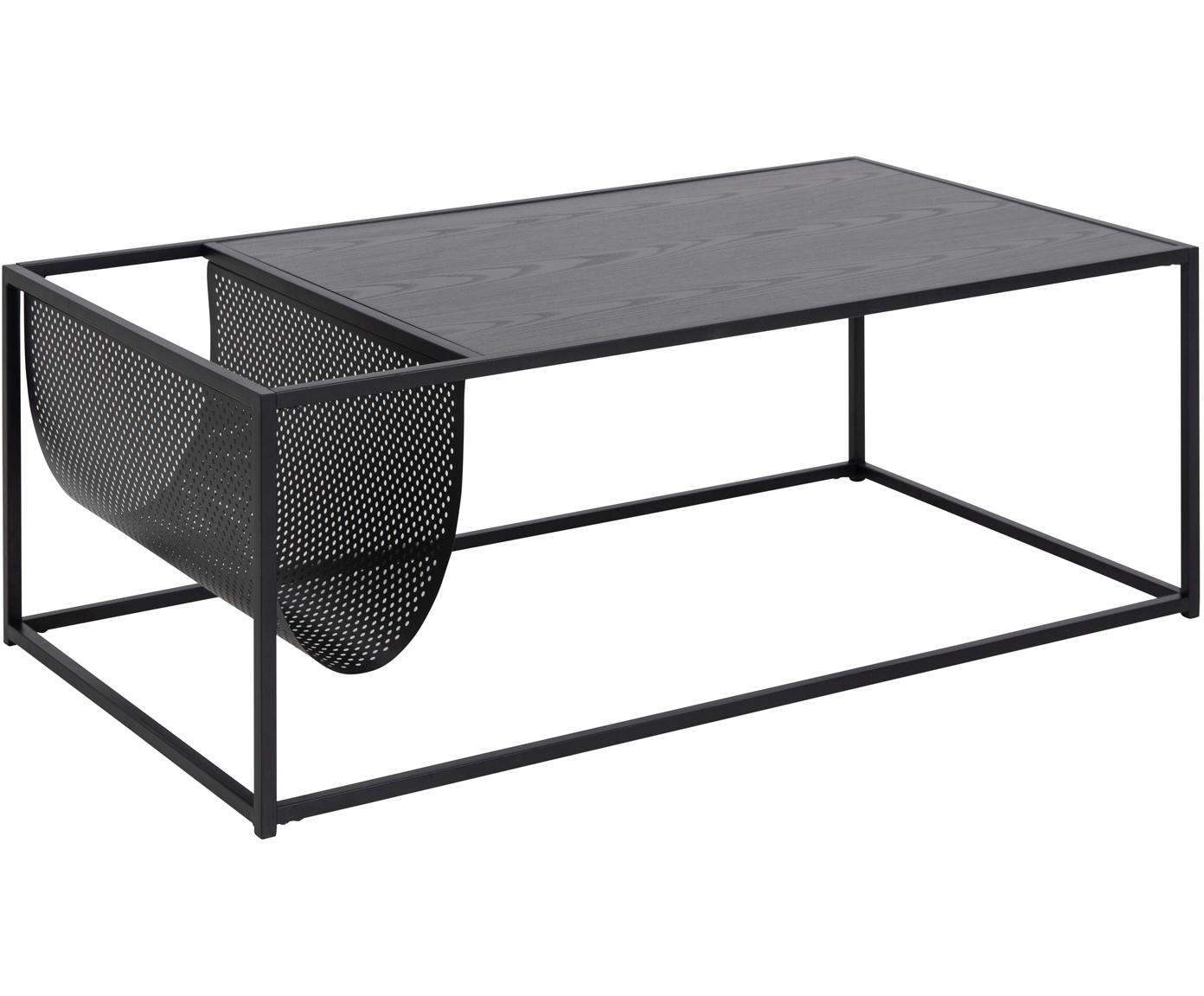 Tavolino da salotto con portariviste Seaford, Pannello di fibra a media densità (MDF), melamina, metallo verniciato a polvere, Nero, Larg. 110 x Prof. 60 cm