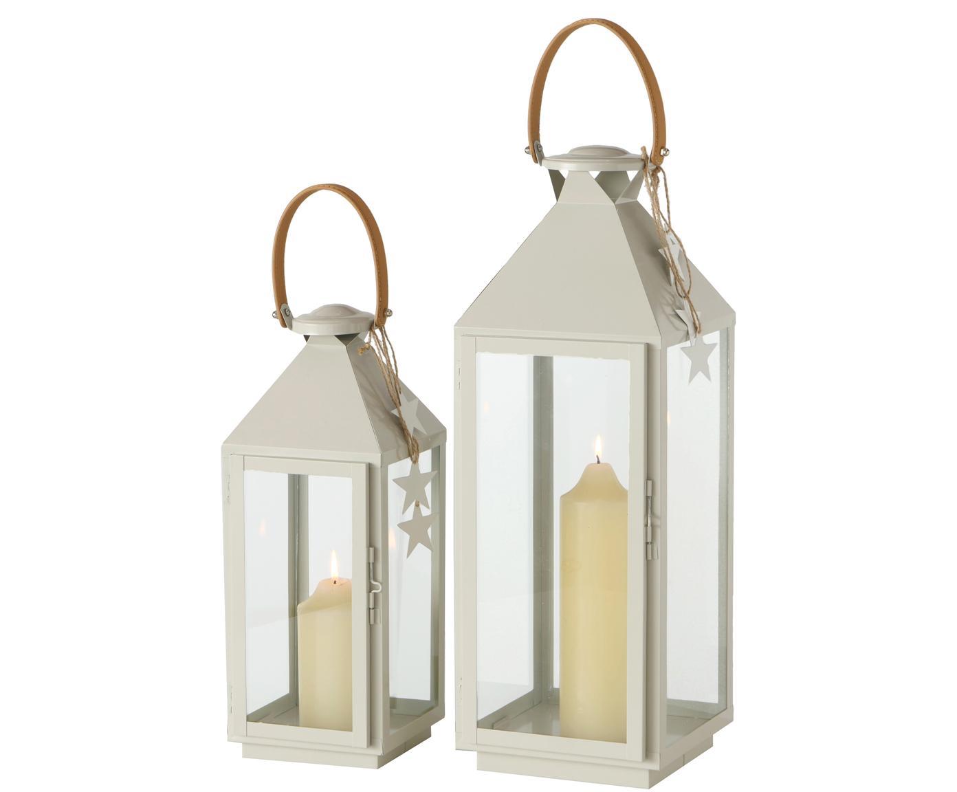 Set 2 lanterne Amalie, Struttura: metallo verniciato a polv, Manico: pelle, Bianco latteo, Diverse dimensioni