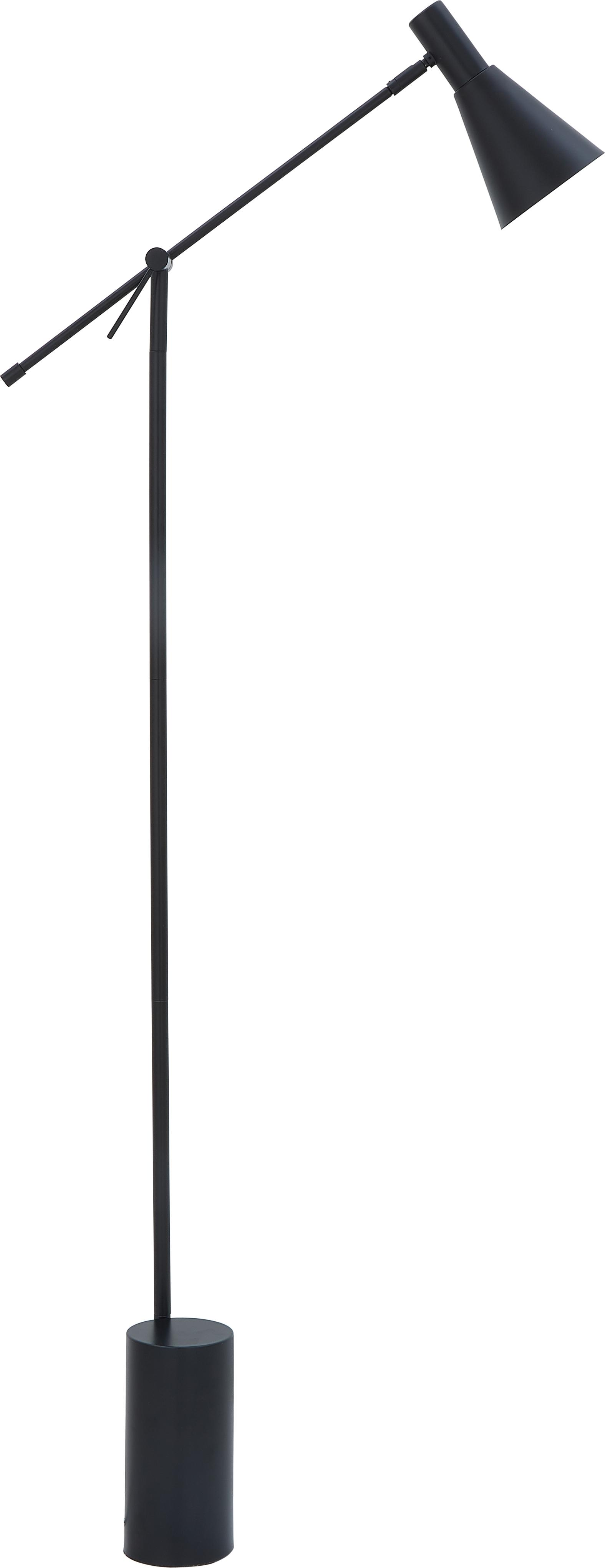 Lámpara de pie Sia, estilo retro, Pantalla: metal con pintura en polv, Cable: cubierto en tela, Negro, Ø 14 x Al 162 cm