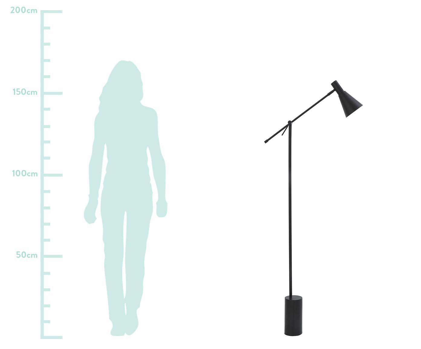 Vloerlamp Sia, Lampenkap: gepoedercoat metaal, Lampvoet: gepoedercoat metaal, Zwart, 14 x 162 cm