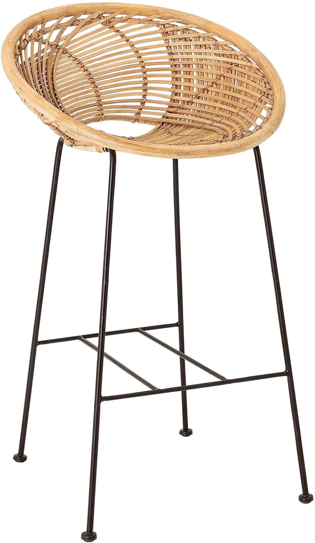 Rotan barkruk Yonne, Zitvlak: rotan, Frame: gecoat metaal, Rotan, zwart, 52 x 94 cm