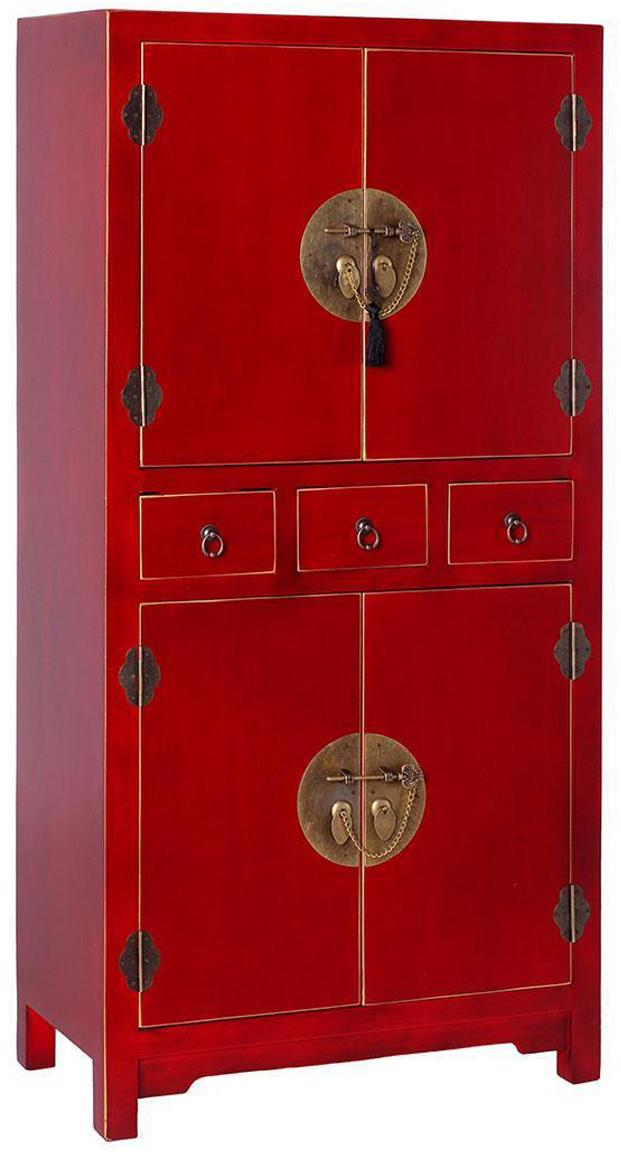 Armario Barbados, Madera, pintada, Rojo, dorado, An 63 x Al 131 cm