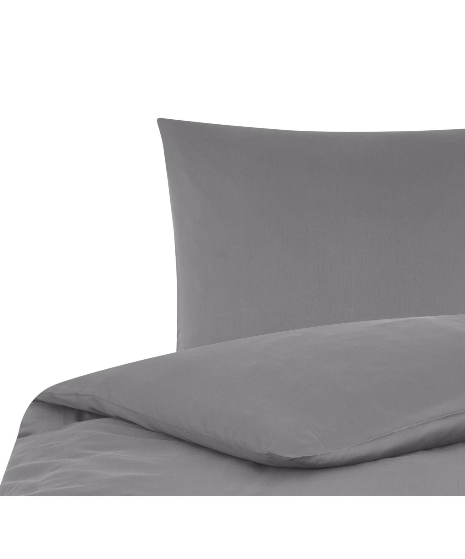 Funda nórdica de satén Comfort, Gris oscuro, Cama 90 cm (150 x 200 cm)