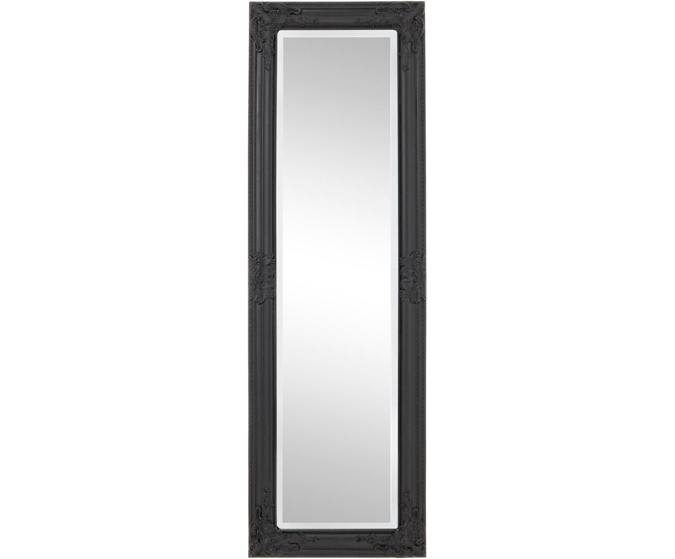 Specchio da parete con cornice in legno nero Miro, Cornice: legno, rivestito, Superficie dello specchio: lastra di vetro, Nero, Larg. 42 x Alt. 132 cm