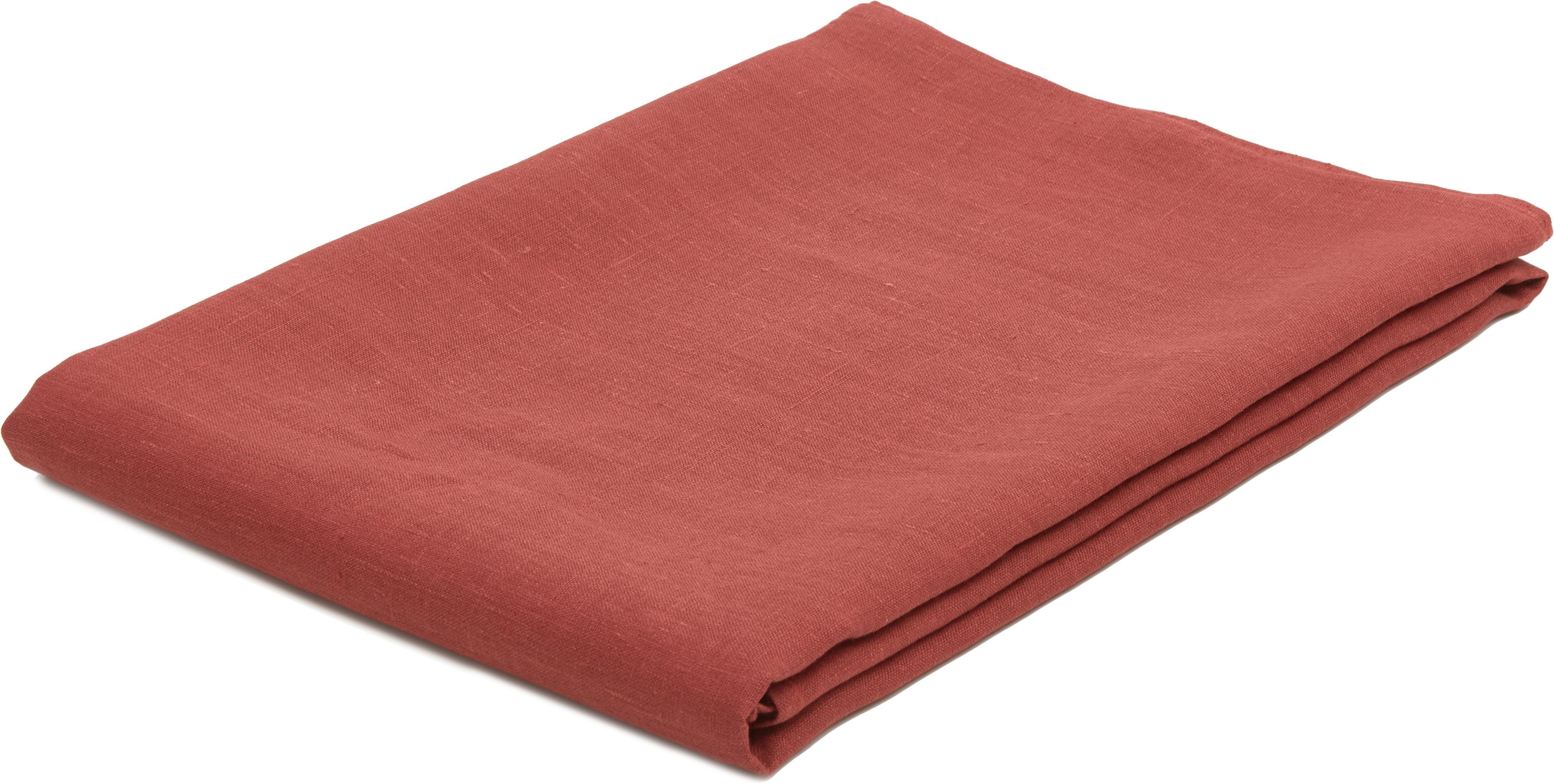 Mantel de lino Heddie, 100%lino, Rojo, An 145 x L 200 cm