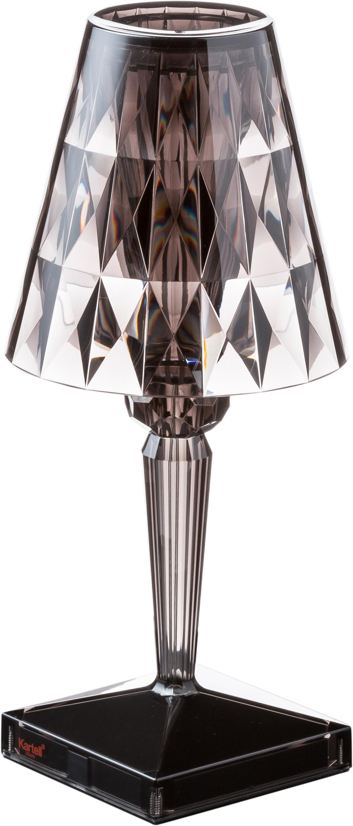 Design LED tafellamp Battery, Lampenkap: kunststof, Lampvoet: kunststof, Grijs, transparant, Ø 12 x H 26 cm