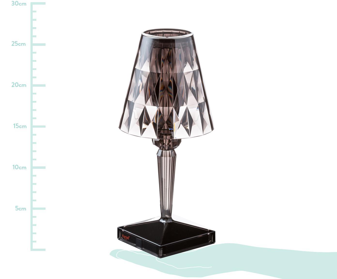 LED tafellamp Battery, Kunststof, Grijs, transparant, Ø 12 x H 26 cm