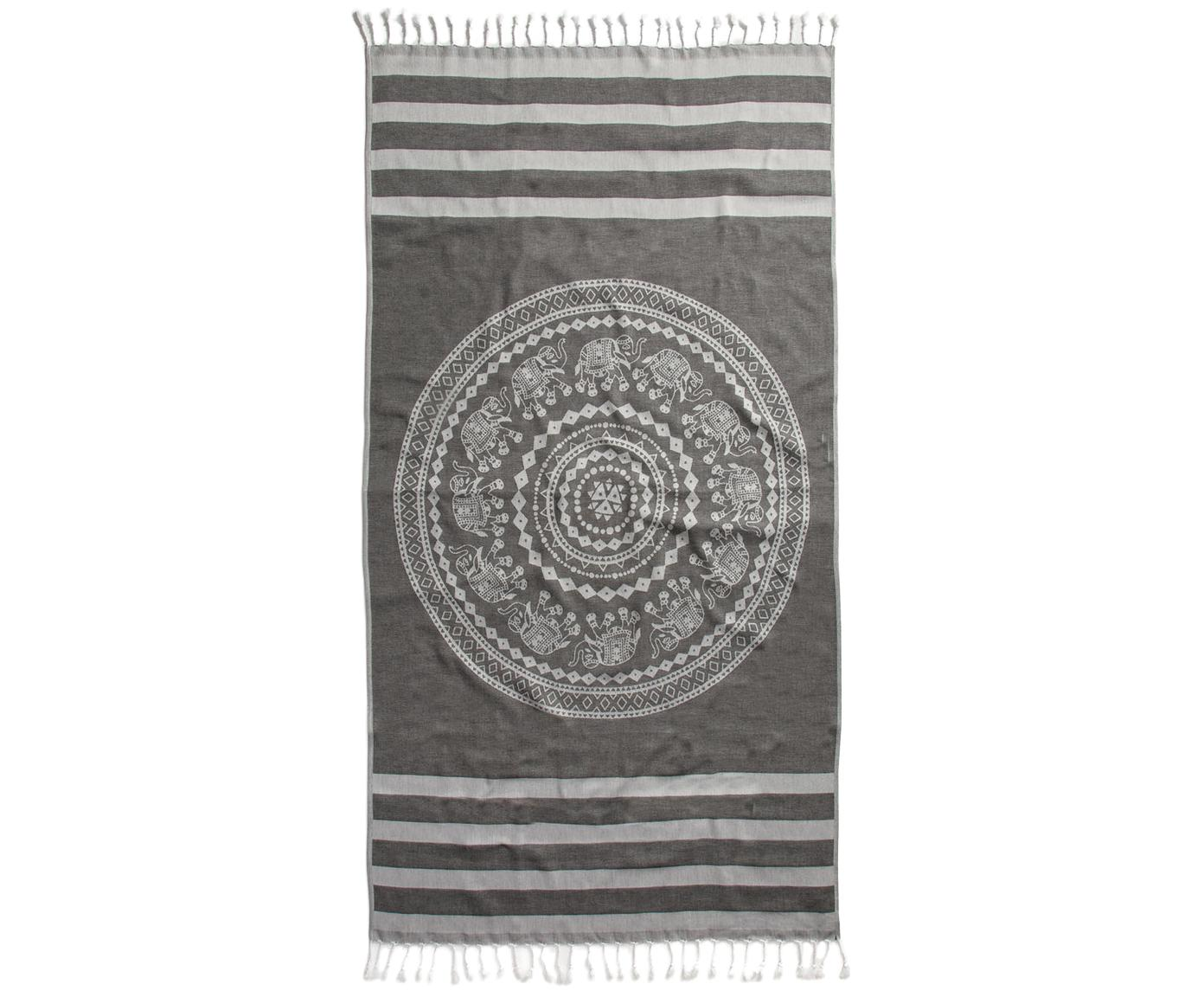 Fouta Shiva, Algodón Gramaje ligero, 210g/m², Negro, gris, An 90 x L 180 cm