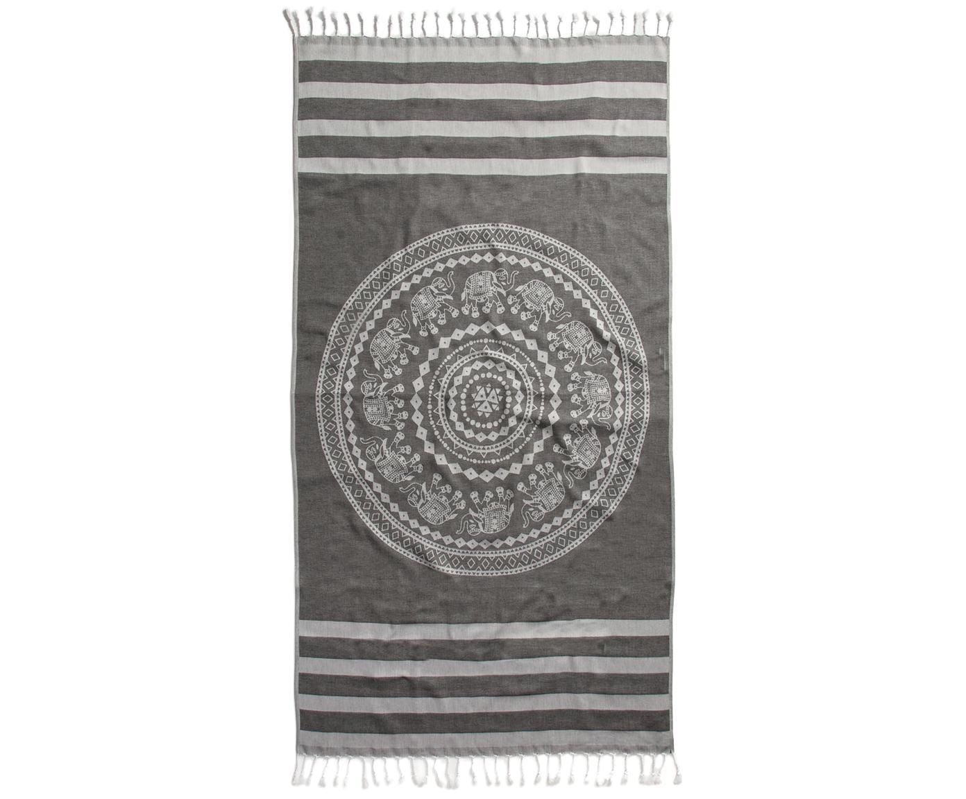 Hamamtuch Shiva, 100% Baumwolle leichte Stoffqualität, 210g/m², Schwarz, Grau, 90 x 180 cm
