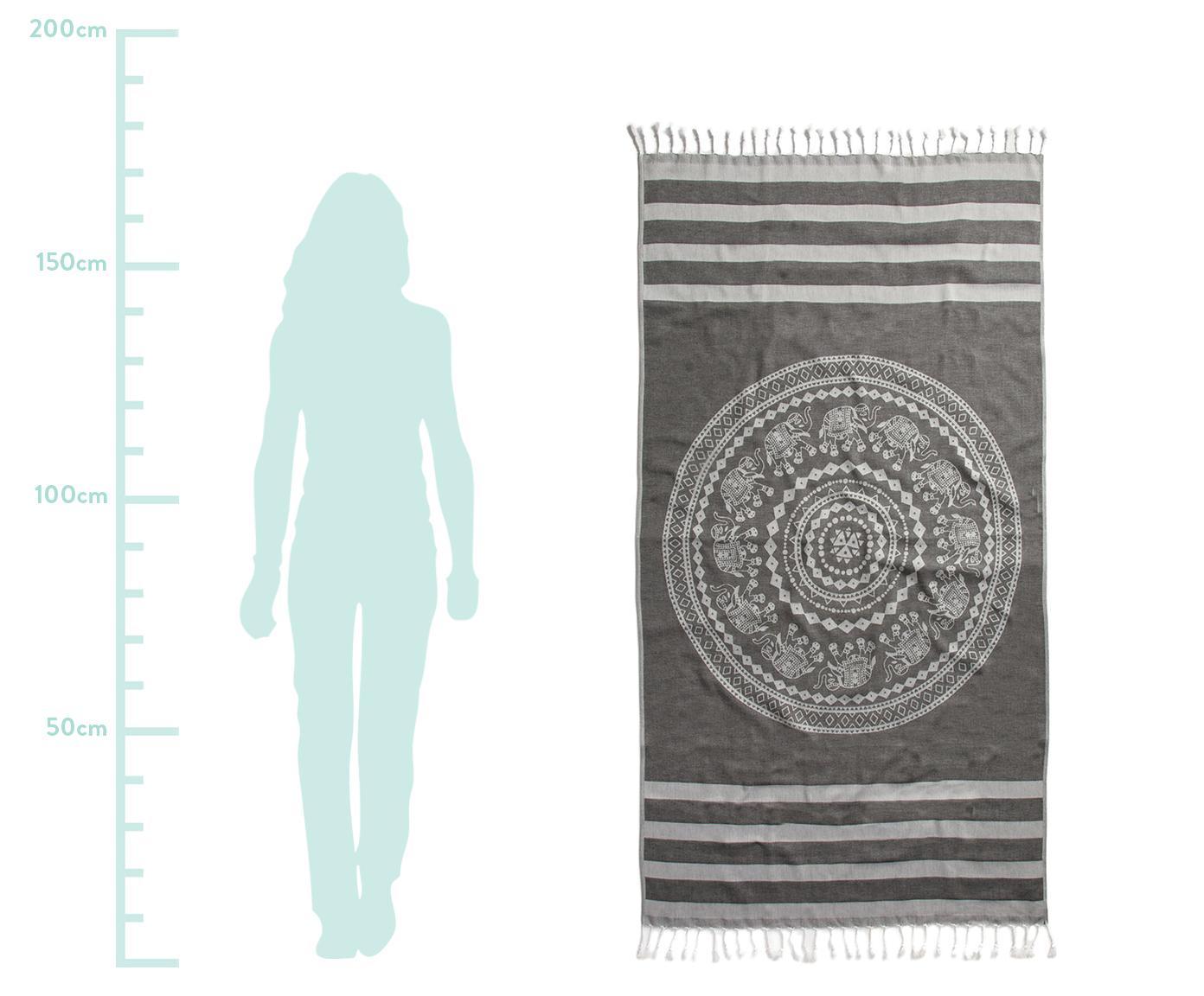 Fouta Shiva, Bawełna Niska gramatura, 210g/m², Czarny, szary, S 90 x D 180 cm