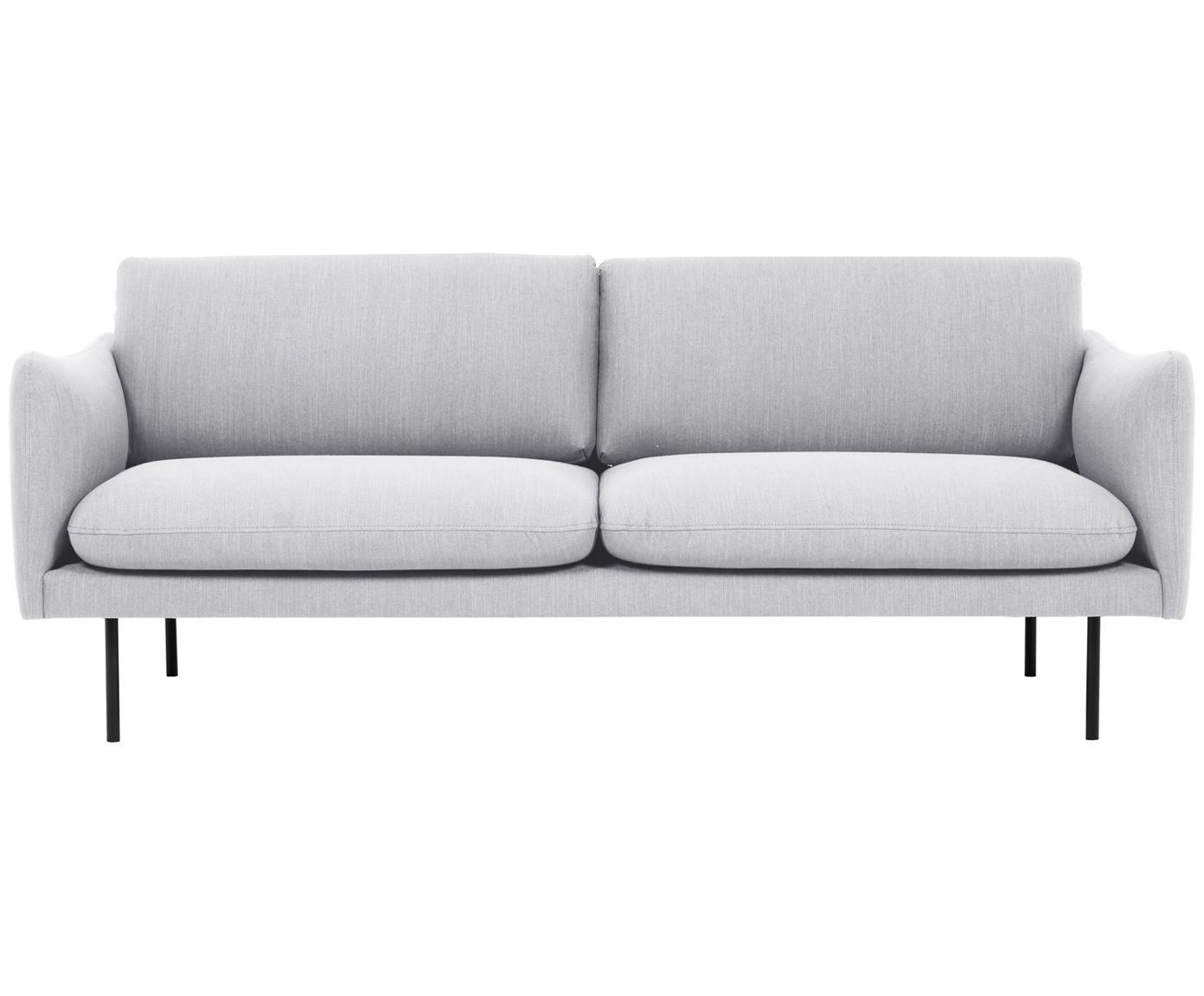 Sofa Moby (2-Sitzer), Bezug: Polyester 60.000 Scheuert, Gestell: Massives Kiefernholz, Füße: Metall, pulverbeschichtet, Webstoff Hellgrau, B 170 x T 95 cm