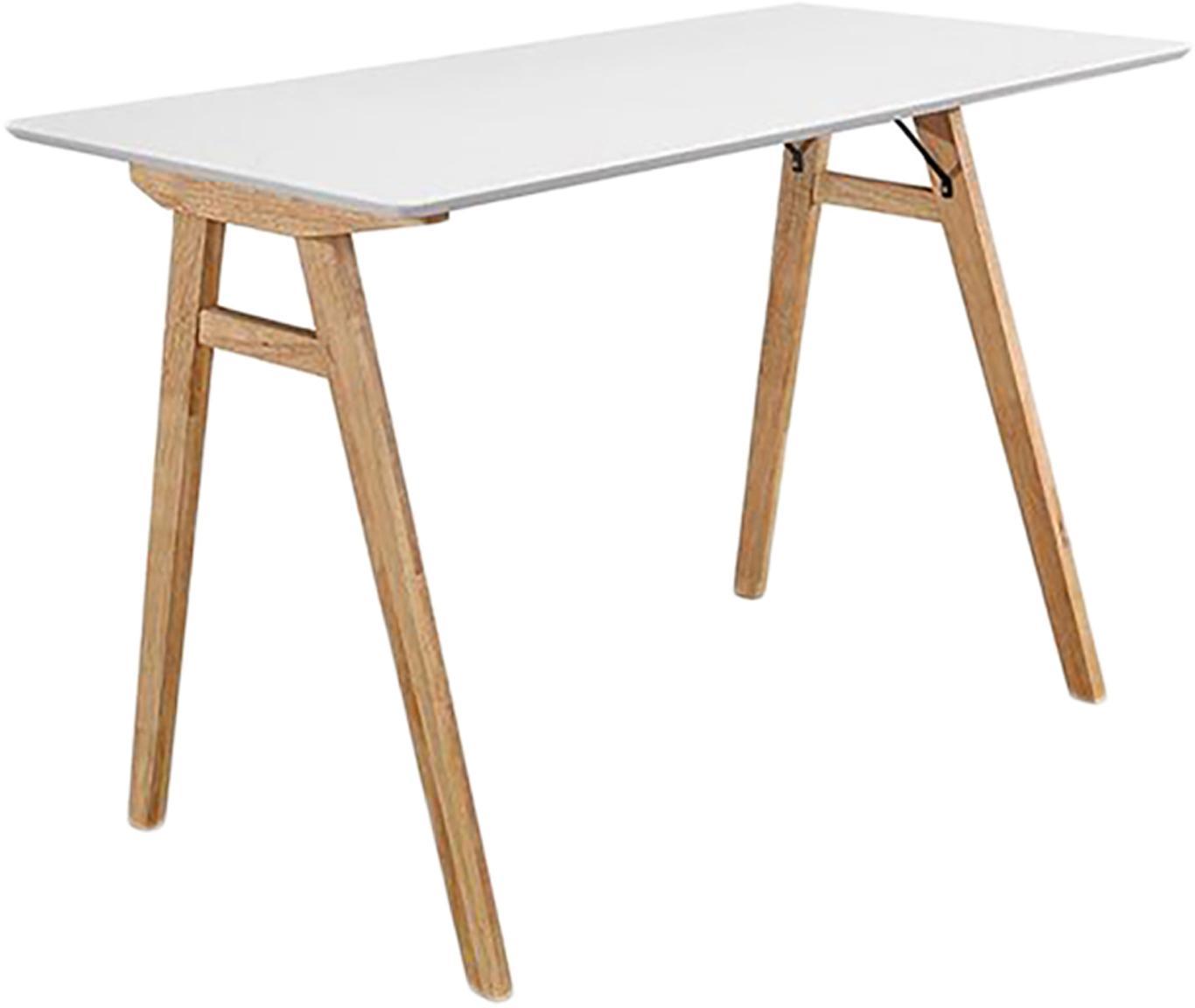 Bureau Vojens met wit tafelblad, Tafelblad: gelakt MDF, Poten: rubberhout, Wit, bruin, B 120 x D 60 cm
