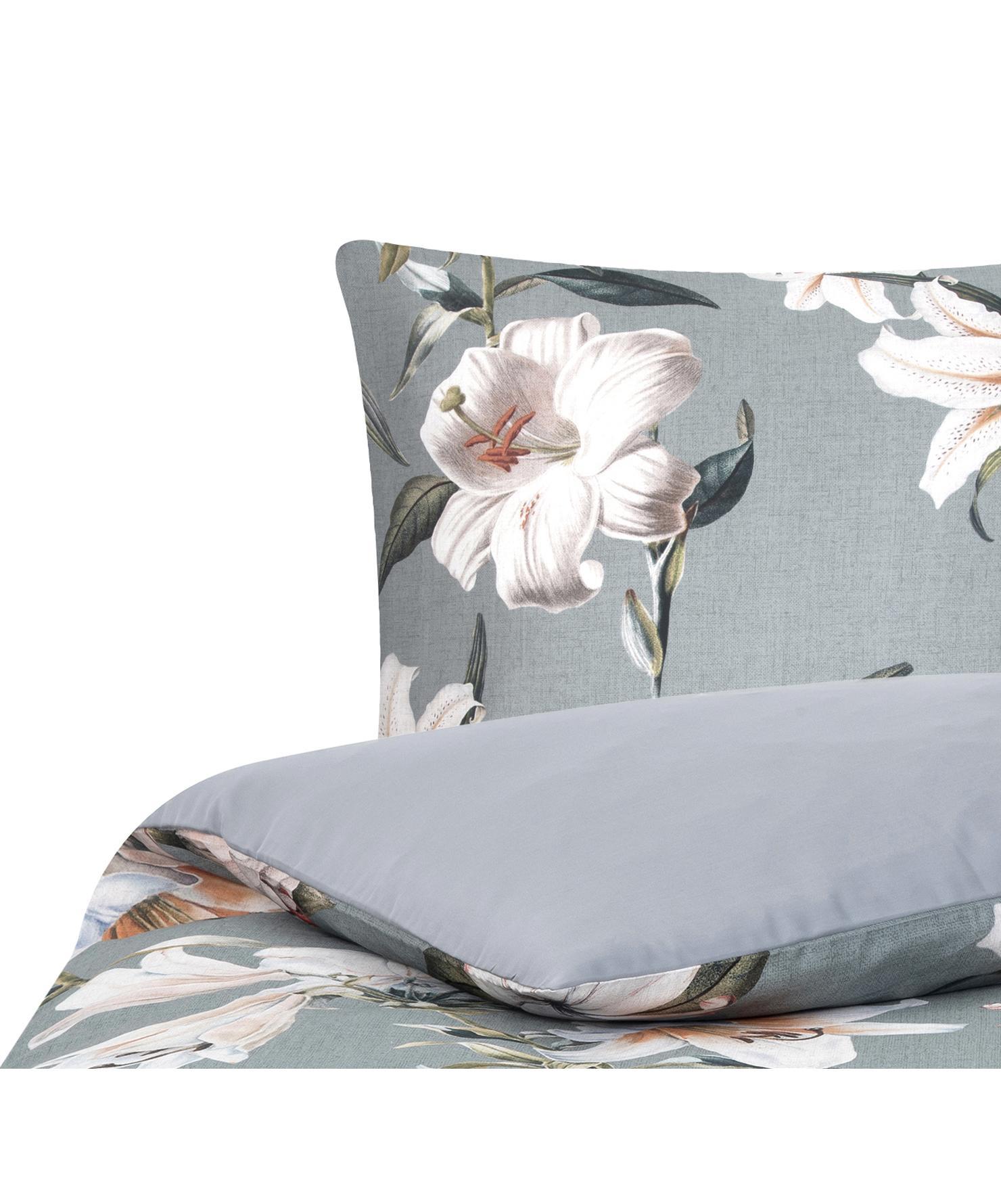 Baumwollsatin-Bettwäsche Flori in Grau mit Blumen-Print, Webart: Satin Fadendichte 210 TC,, Vorderseite: Blau, CremeweissRückseite: Blau, 135 x 200 cm + 1 Kissen 80 x 80 cm