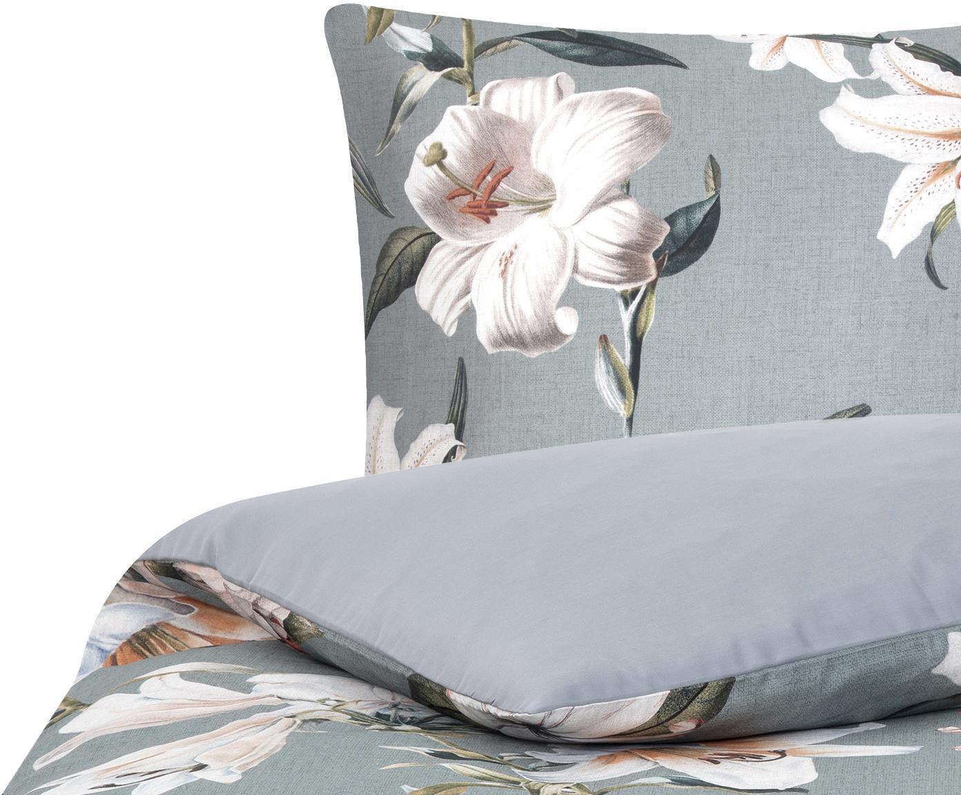 Baumwollsatin-Bettwäsche Flori mit Blumen-Print, Webart: Satin Fadendichte 210 TC,, Vorderseite: Blau, CremeweißRückseite: Blau, 135 x 200 cm + 1 Kissen 80 x 80 cm